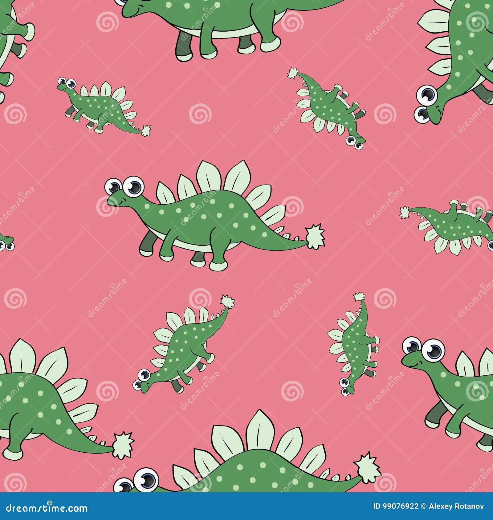 Nahtloses Muster des lustigen Karikaturdinosauriers