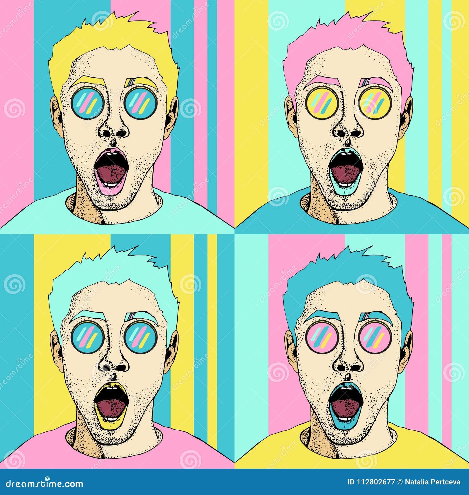 Nahtloses Muster des männlichen Gesichtes wow-Pop-Art Sexy überraschter Mann mit offenem Mund
