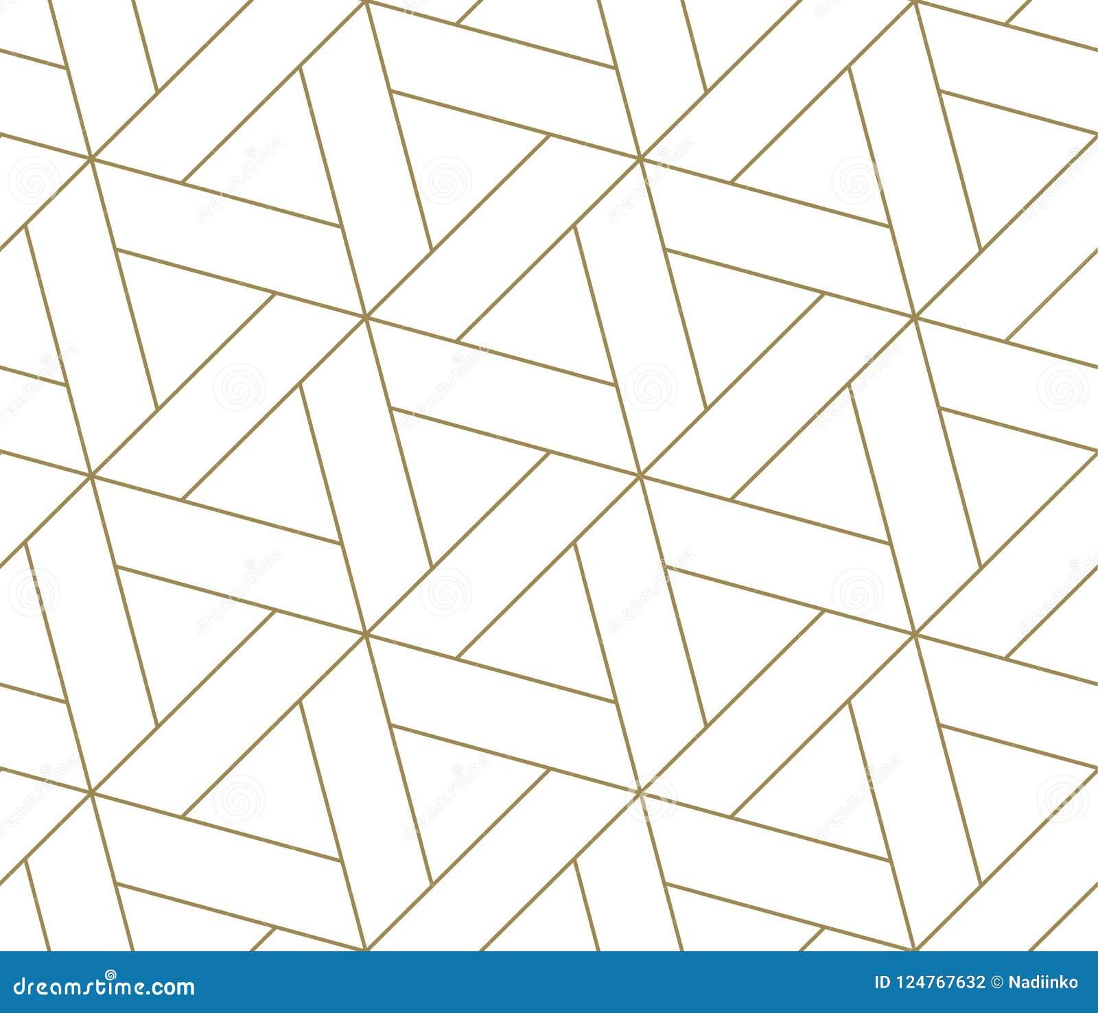 Nahtloses Muster des modernen einfachen geometrischen Vektors mit Goldlinie Beschaffenheit auf weißem Hintergrund Helle abstrakte