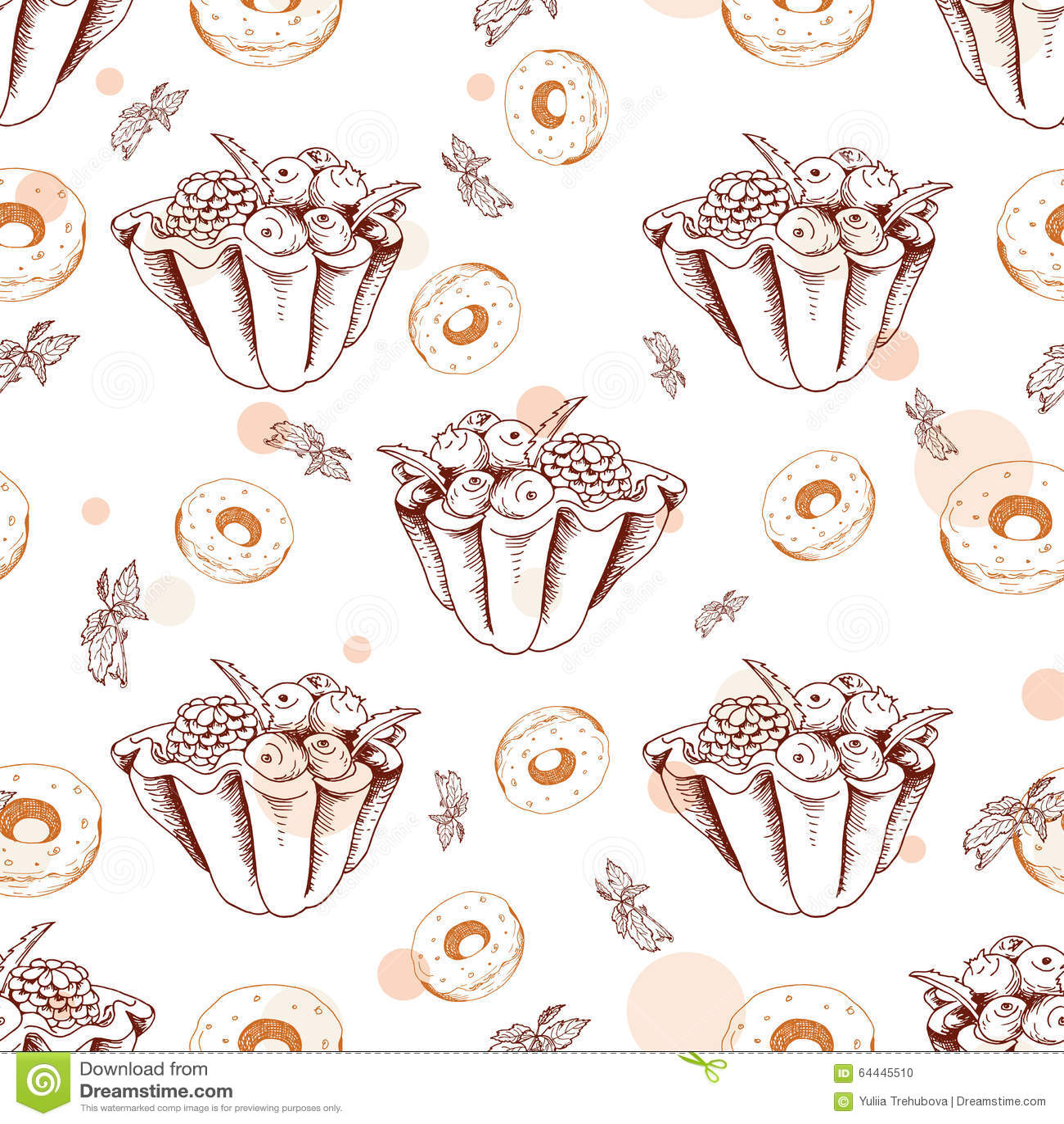 Nahtloses Muster Des Nachtischs Süße Gezeichnete Art Des