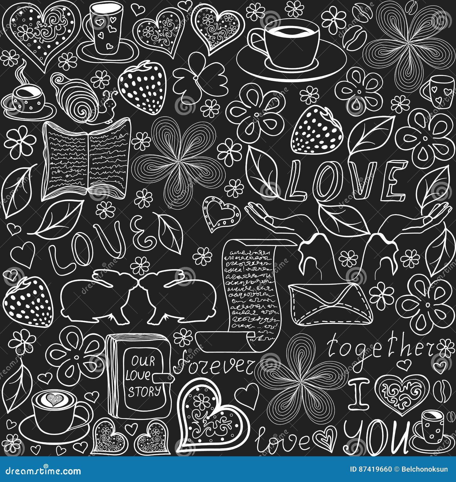 Nahtloses Muster Des Schönen Vektors Mit Den Wörtern Der Liebe