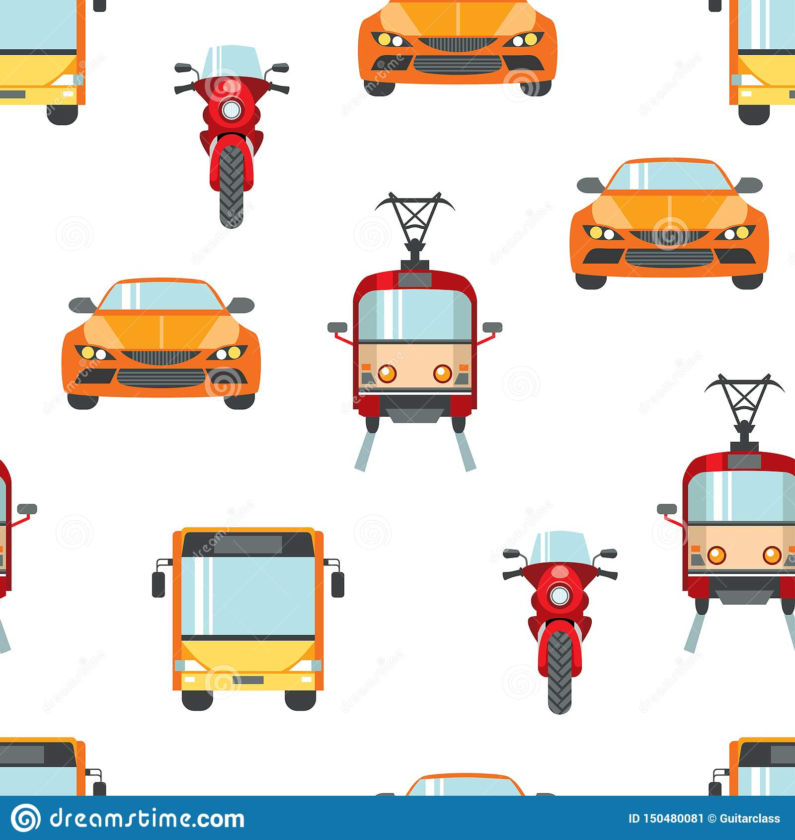 Nahtloses Muster des Stadttransportes Helle Farbautos, Motorräder, Trams, Busse