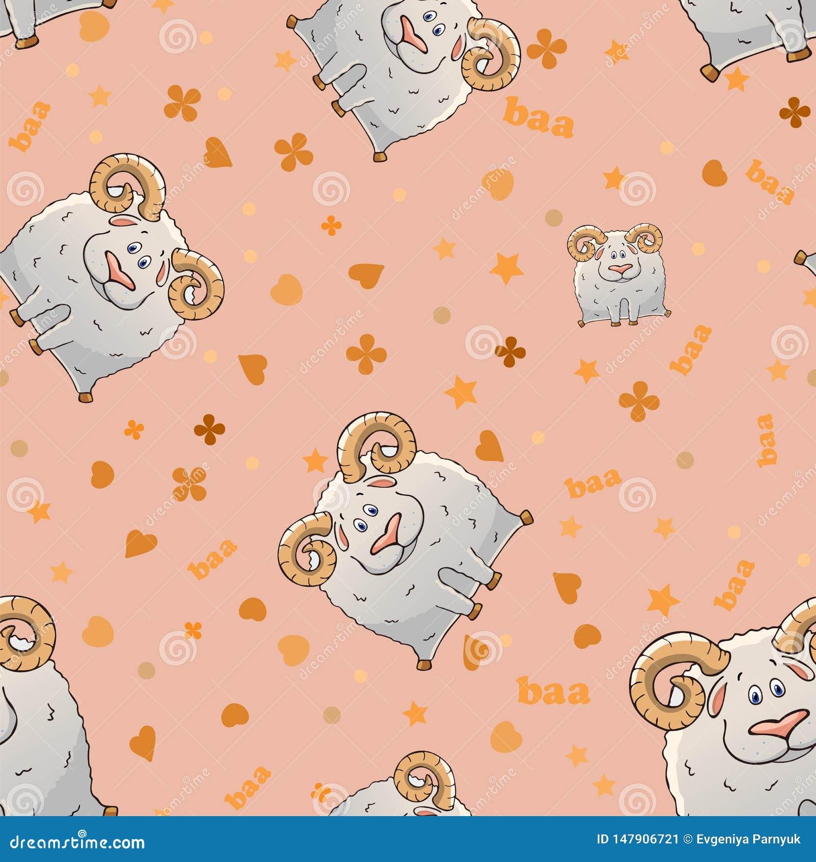Nahtloses Muster des Vektors mit gehörnten Schafen der netten Karikatur Lustige Tiere Beschaffenheit auf einem rosa Hintergrund S