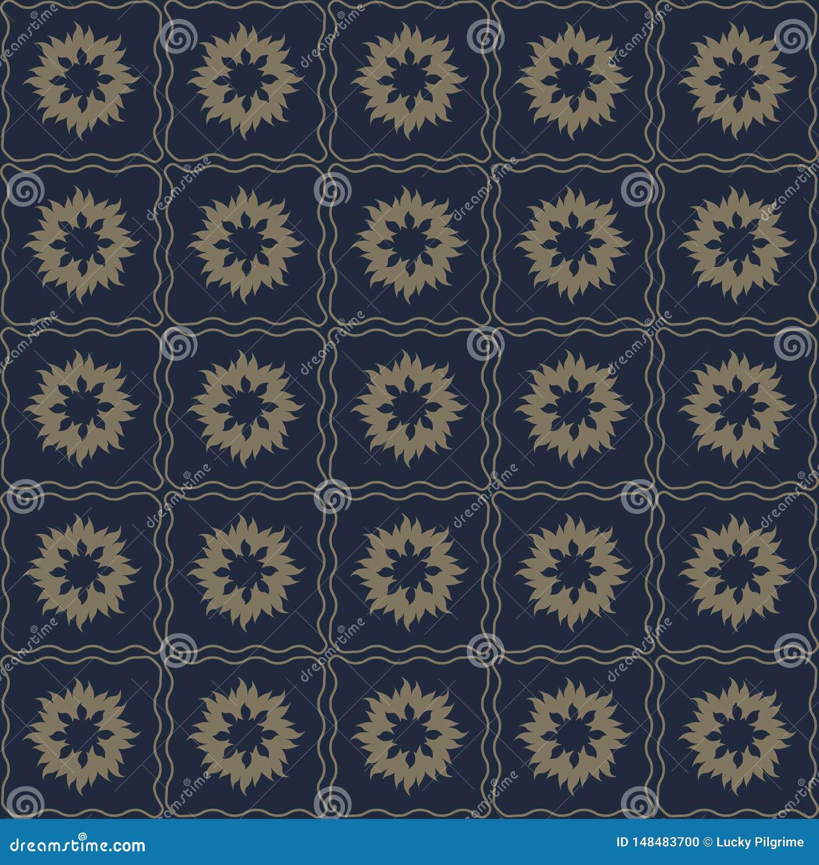 Nahtloses Muster des Vektors von abstrakten Blumen in der subtilen dunklen Farbe