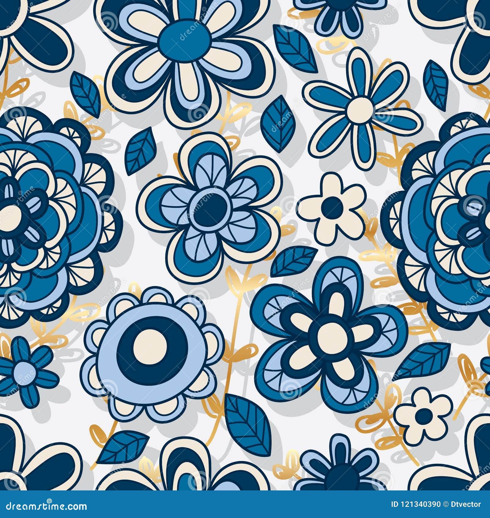 Nahtloses Muster des vertikalen Hintergrundes der Blumenart Gold