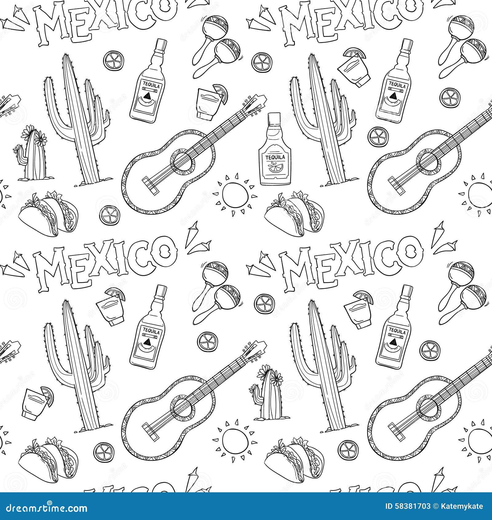 Nahtloses Muster Des Von Hand Gezeichneten Vektors Mexiko
