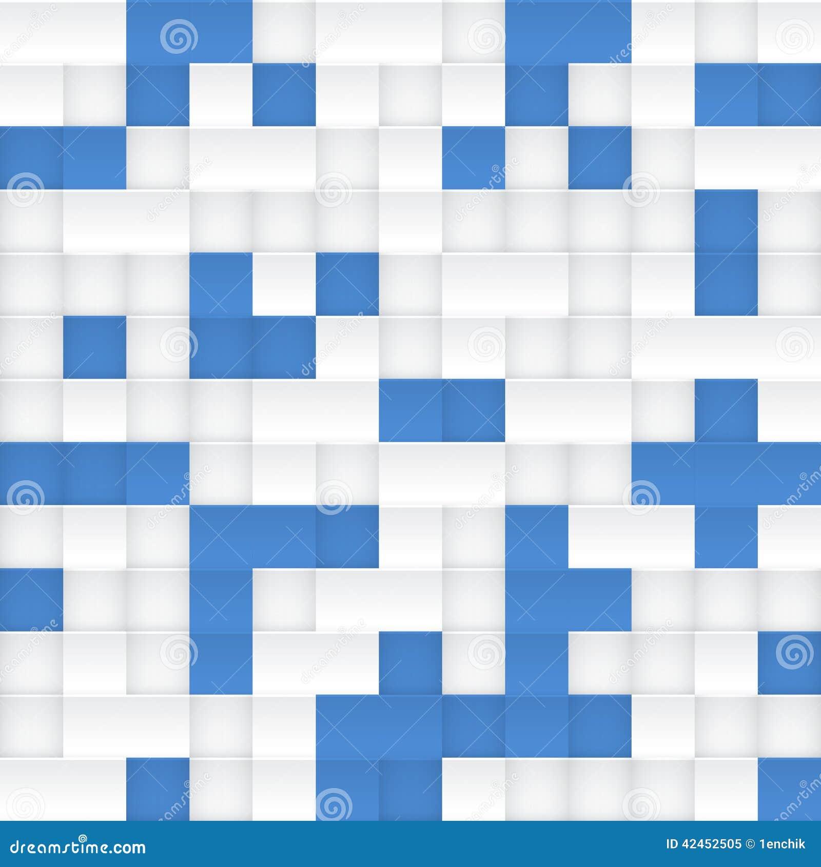 Nahtloses Muster des weißen und blauen Vektormosaiks