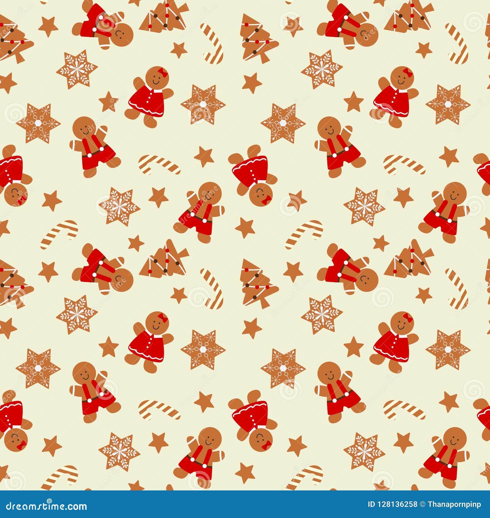 Nahtloses Muster des Weihnachtslebkuchenmannes