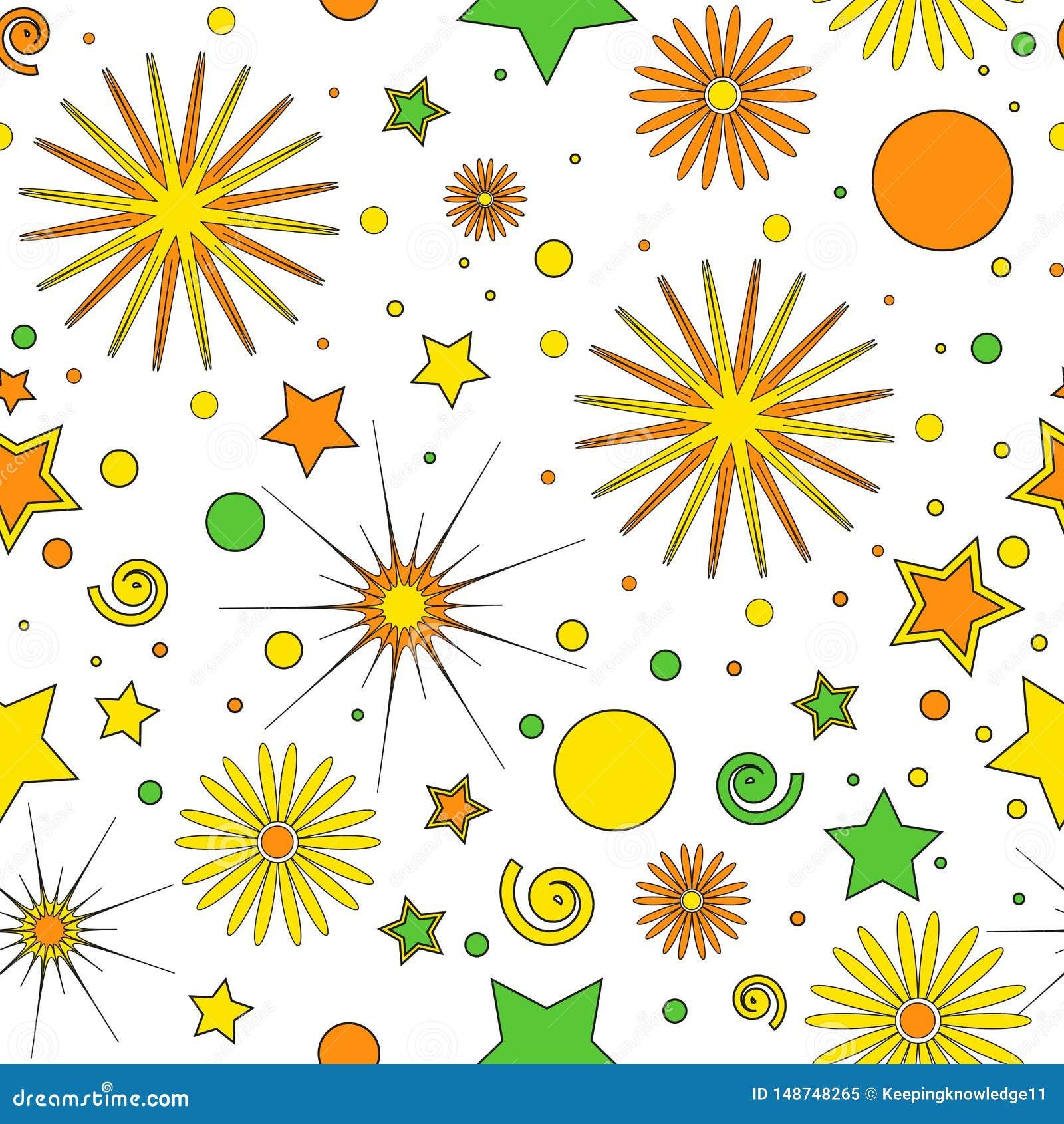 Nahtloses Muster f?r die Einzelteile der Kinder von orangegelben und gr?nen Punkten, Sterne, Locken und Blumen, auf einem wei?en