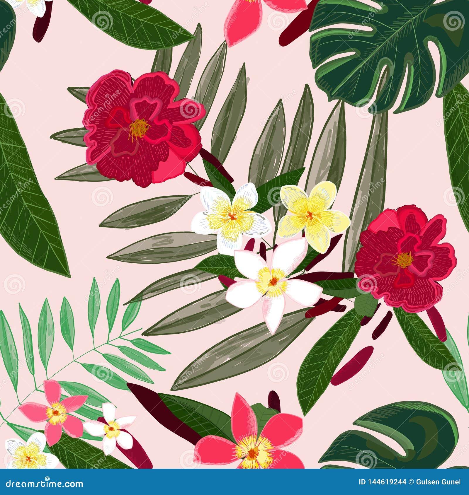 Nahtloses Muster für Textildesign Rote tropische Blumen Frangipani