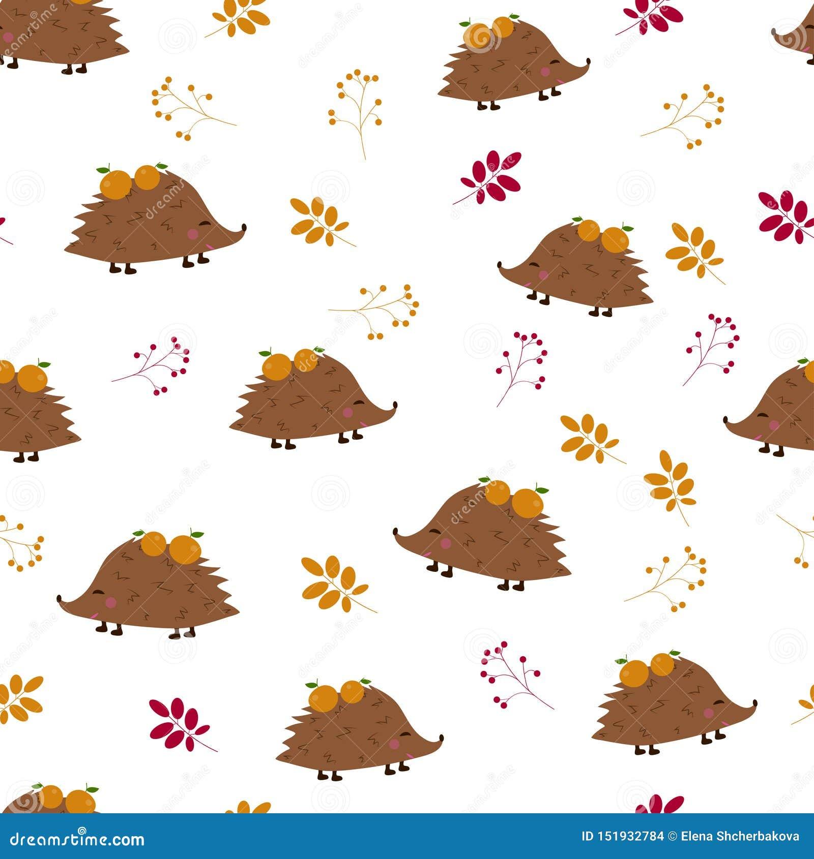 Nahtloses Muster: Igele mit Äpfeln und Beeren, verlässt auf einem weißen Hintergrund Flacher Vektor IL