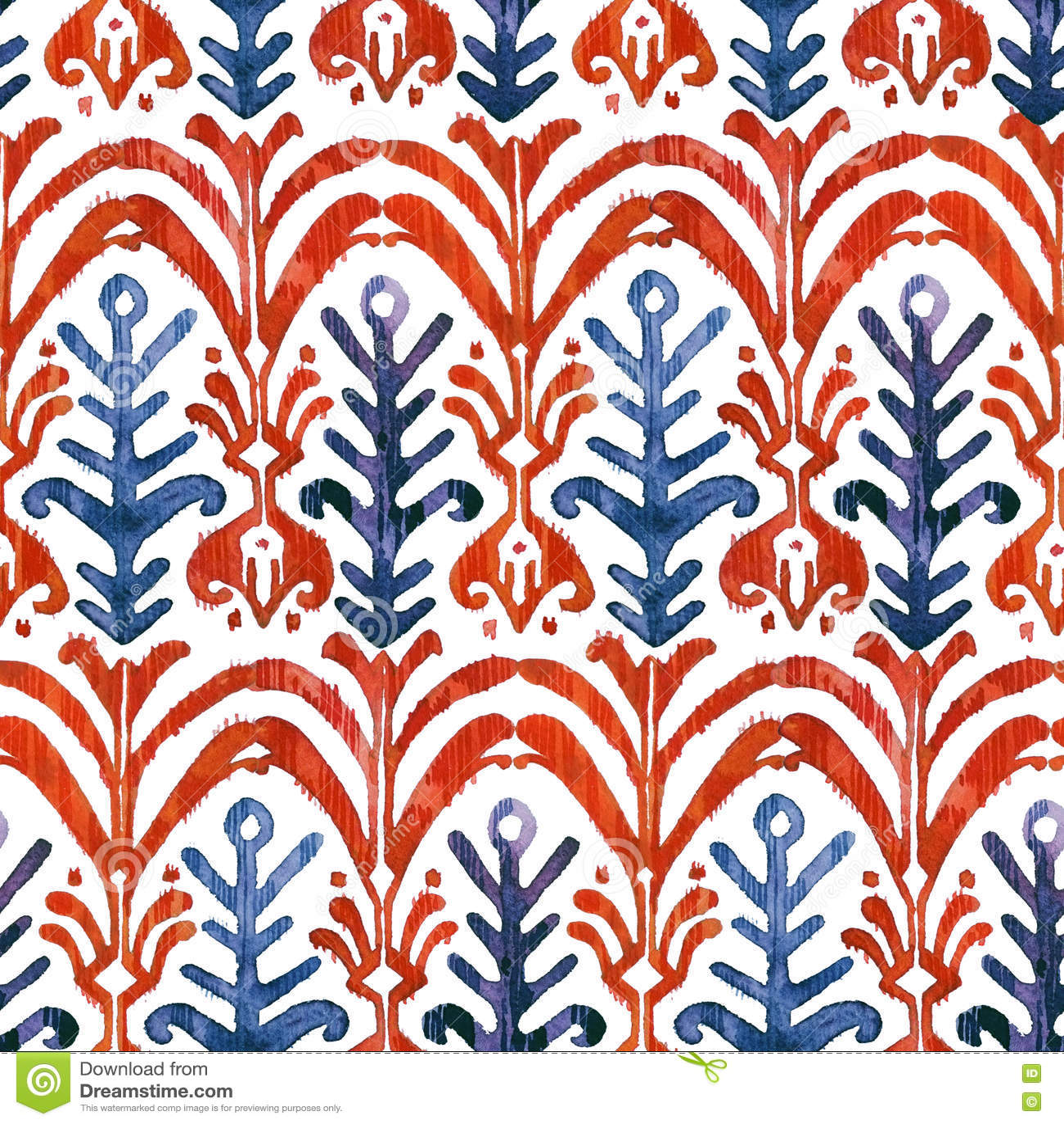 Nahtloses Muster Ikat-Aquarells Vibrierender Mit Blumenwatercolour