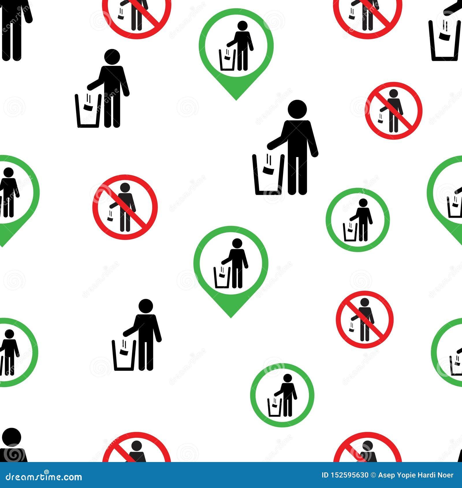 Nahtloses Muster kein Abfallzeichensymbollogo