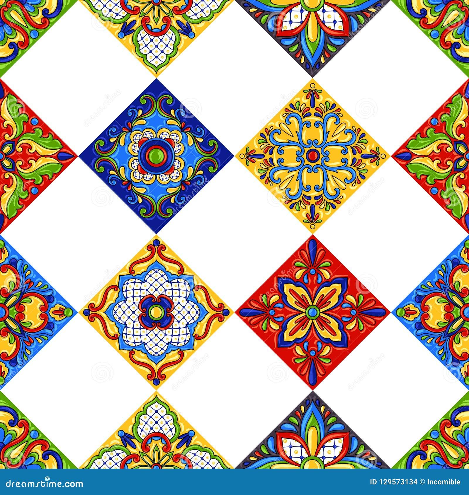 Nahtloses Muster Keramikziegels Mexikanertalaveras