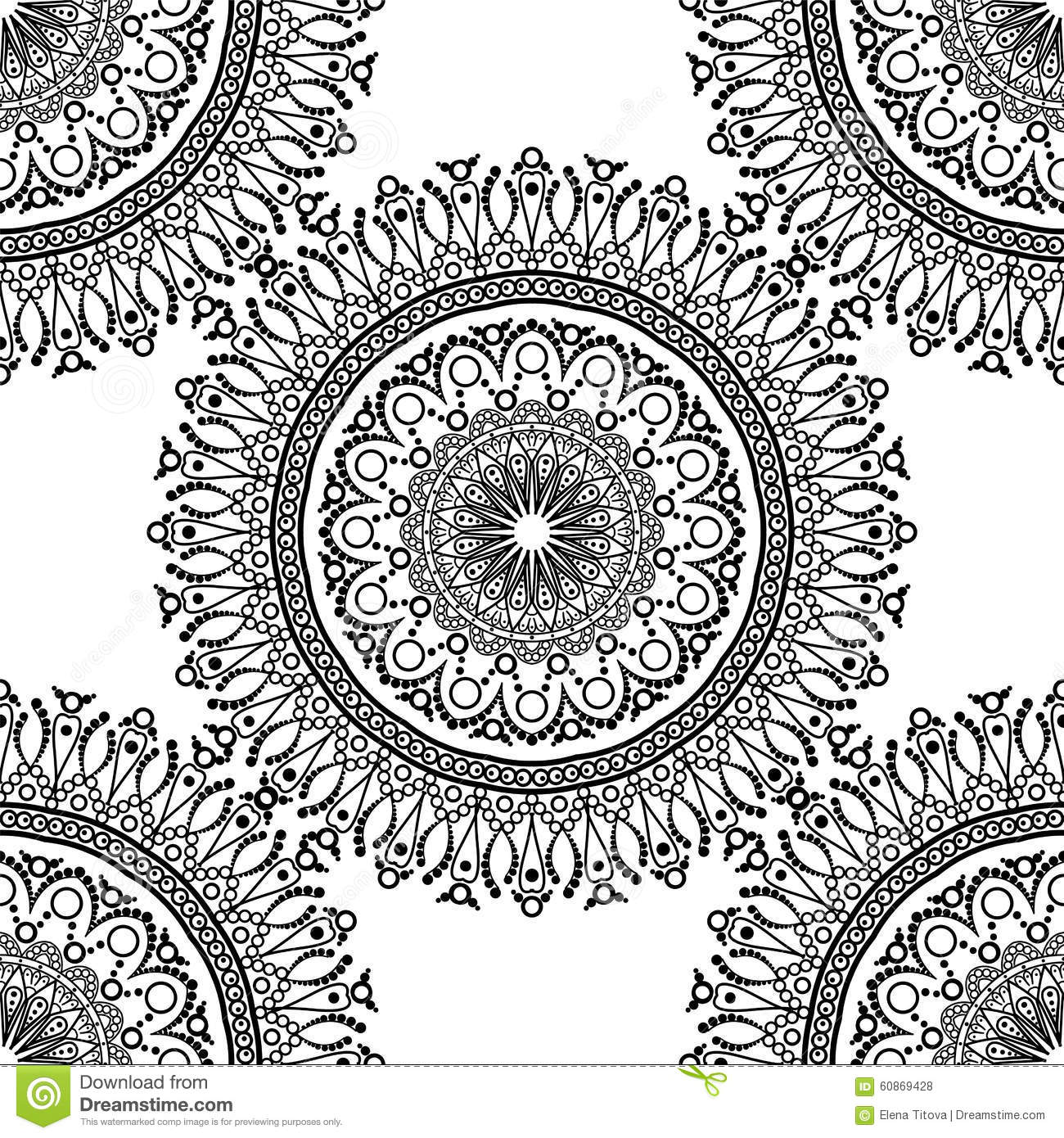 nahtloses muster mandala mit dekorativer verzierung stock abbildung illustration von. Black Bedroom Furniture Sets. Home Design Ideas
