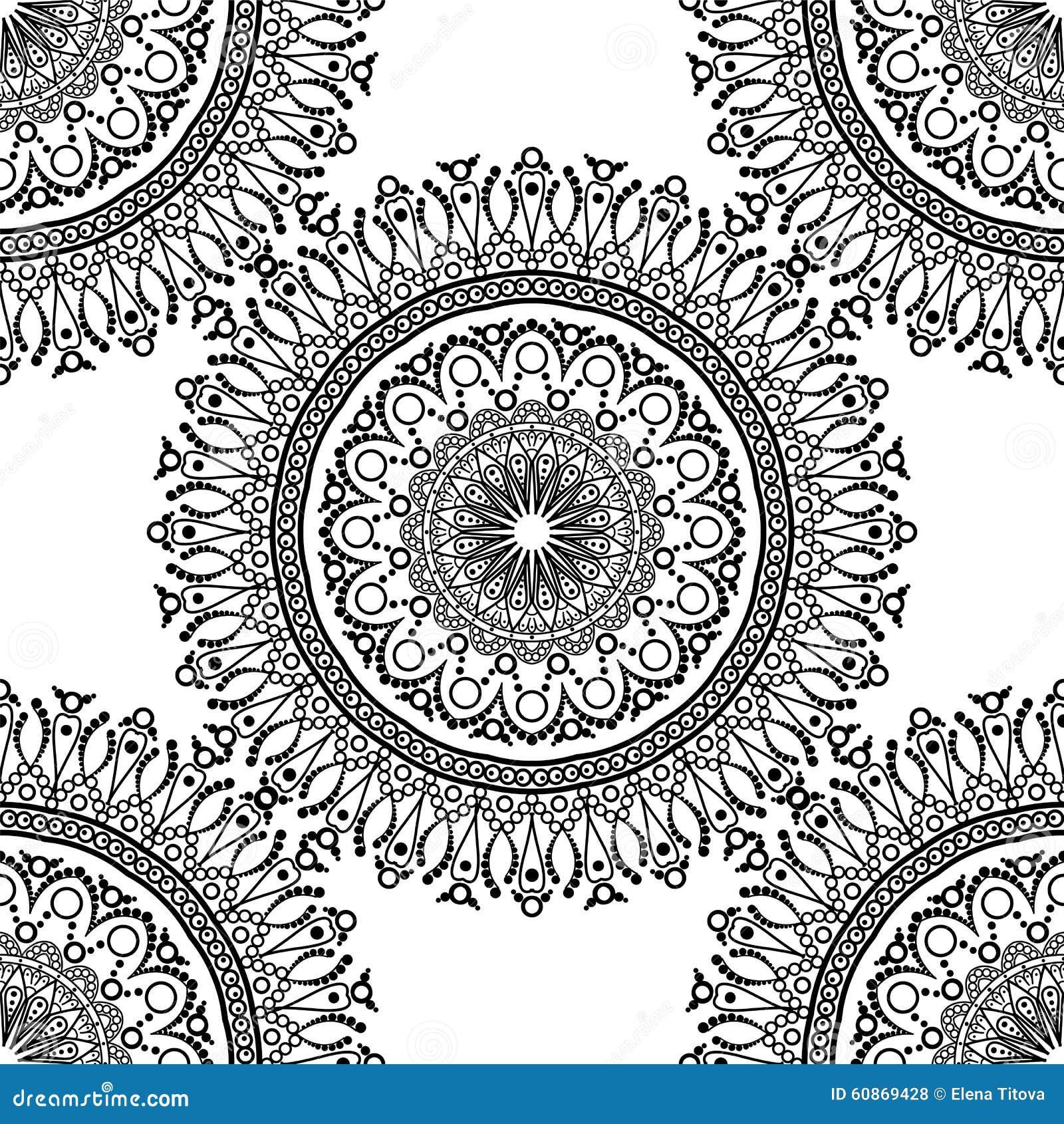 nahtloses muster mandala mit dekorativer verzierung stock abbildung bild 60869428. Black Bedroom Furniture Sets. Home Design Ideas