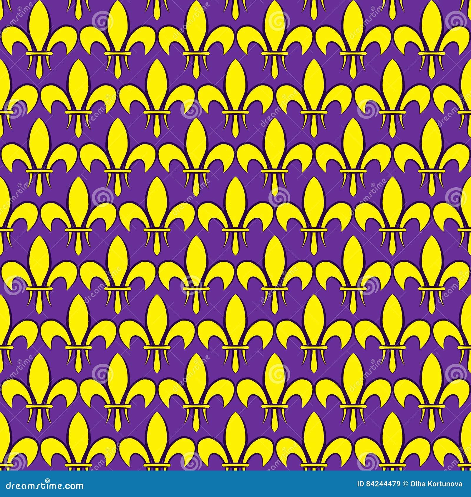 Nahtloses Muster Mardi Grass mit Fleur de Lis oder Lilienikone Flache Elemente der gelben Farbe auf einem purpurroten Hintergrund