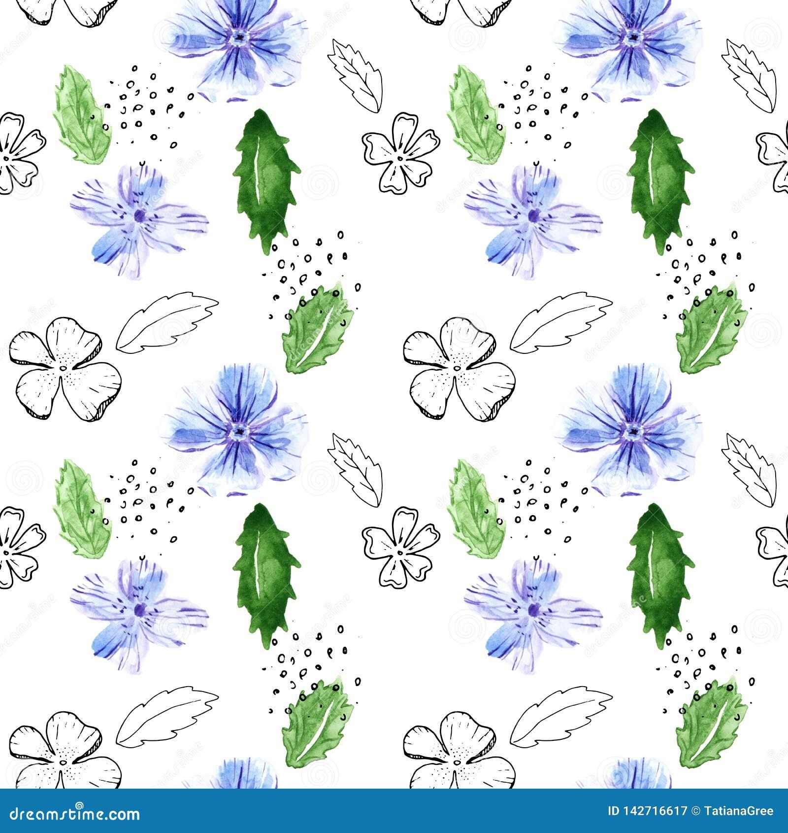 Nahtloses Muster mit Blumen und Blättern