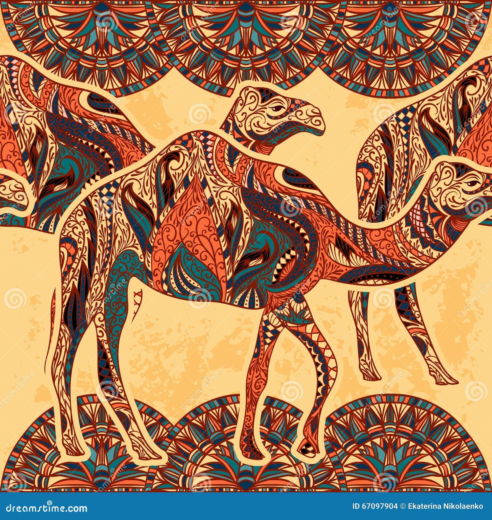 Nahtloses Muster mit dem Kamel verziert mit orientalischen Verzierungen und Ägypten-bunter Blumenverzierung auf Schmutzhintergrun