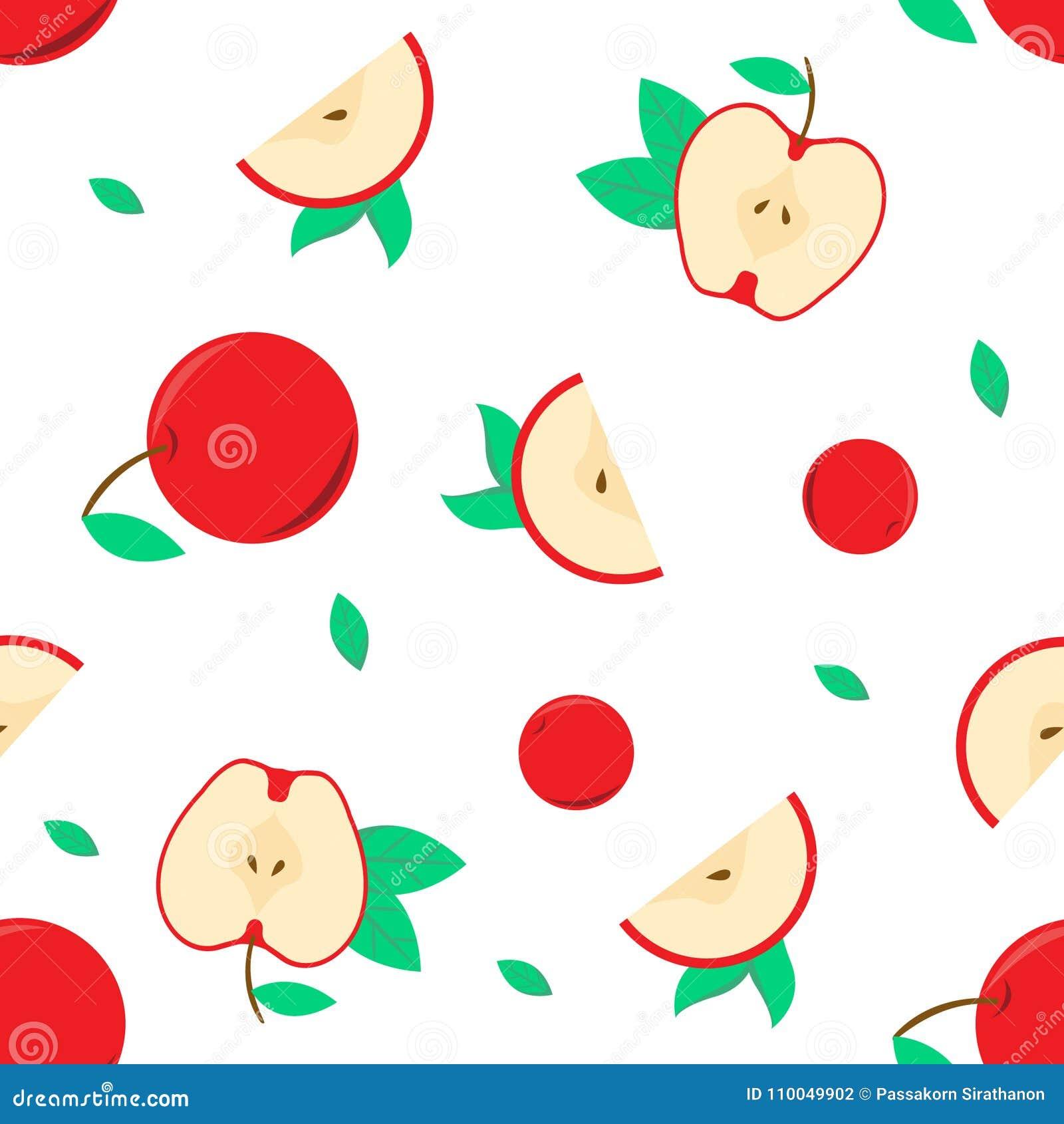 Nahtloses Muster mit dem roten Apfelvektor für Ihr Design und Ihre Grafik