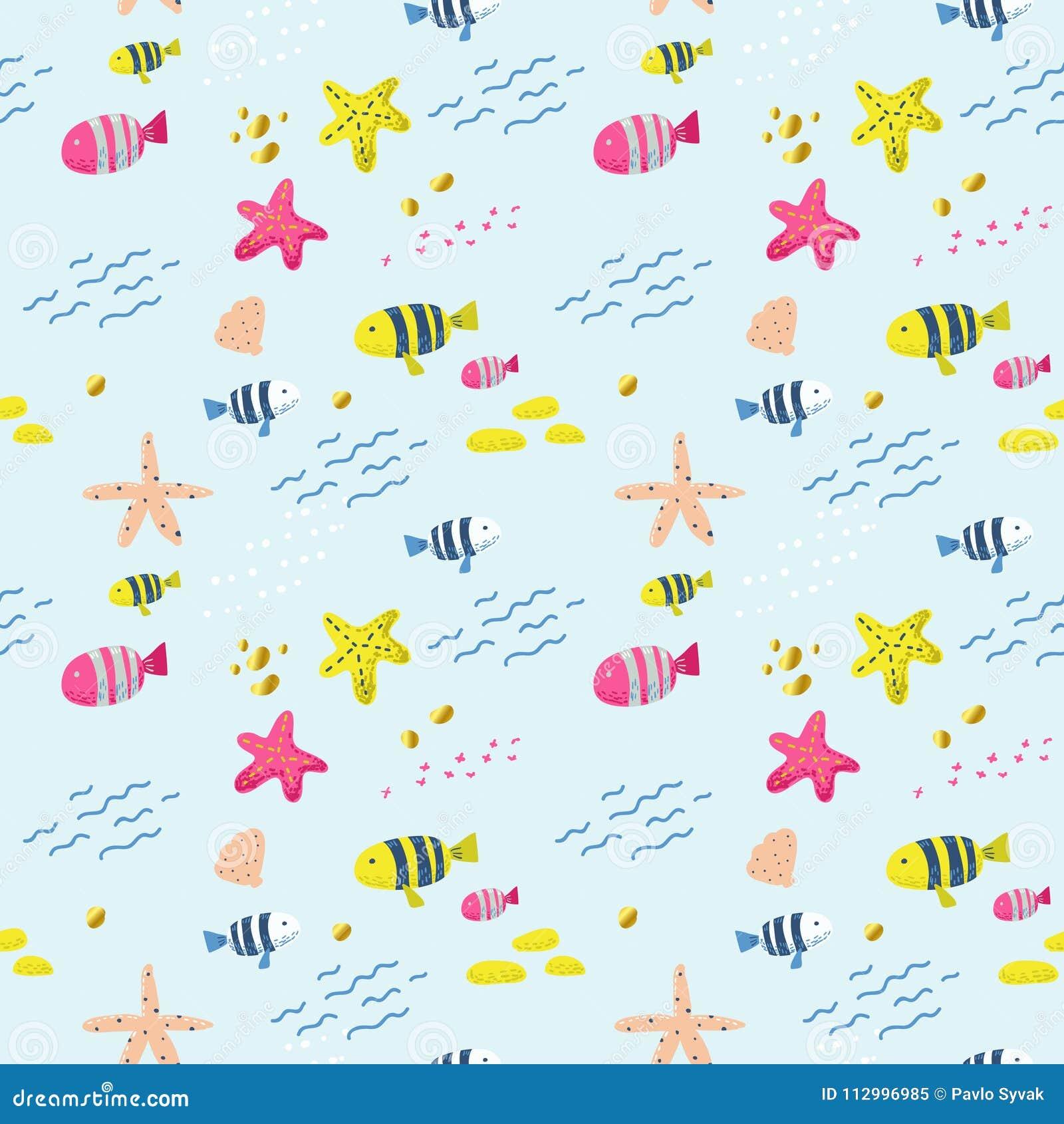Nahtloses Muster mit Fischen Netter kindischer Hintergrund für Gewebe, Dekor, Tapete, Packpapier Unterwassergeschöpfe