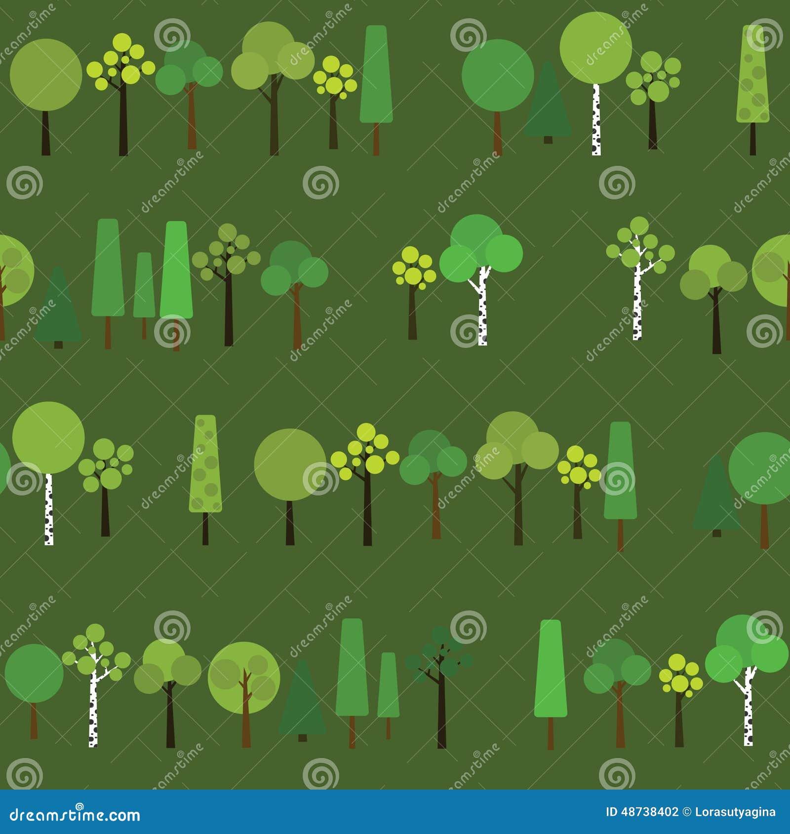 Nahtloses Muster mit geometrischen Bäumen auf einem dunkelgrünen Hintergrund