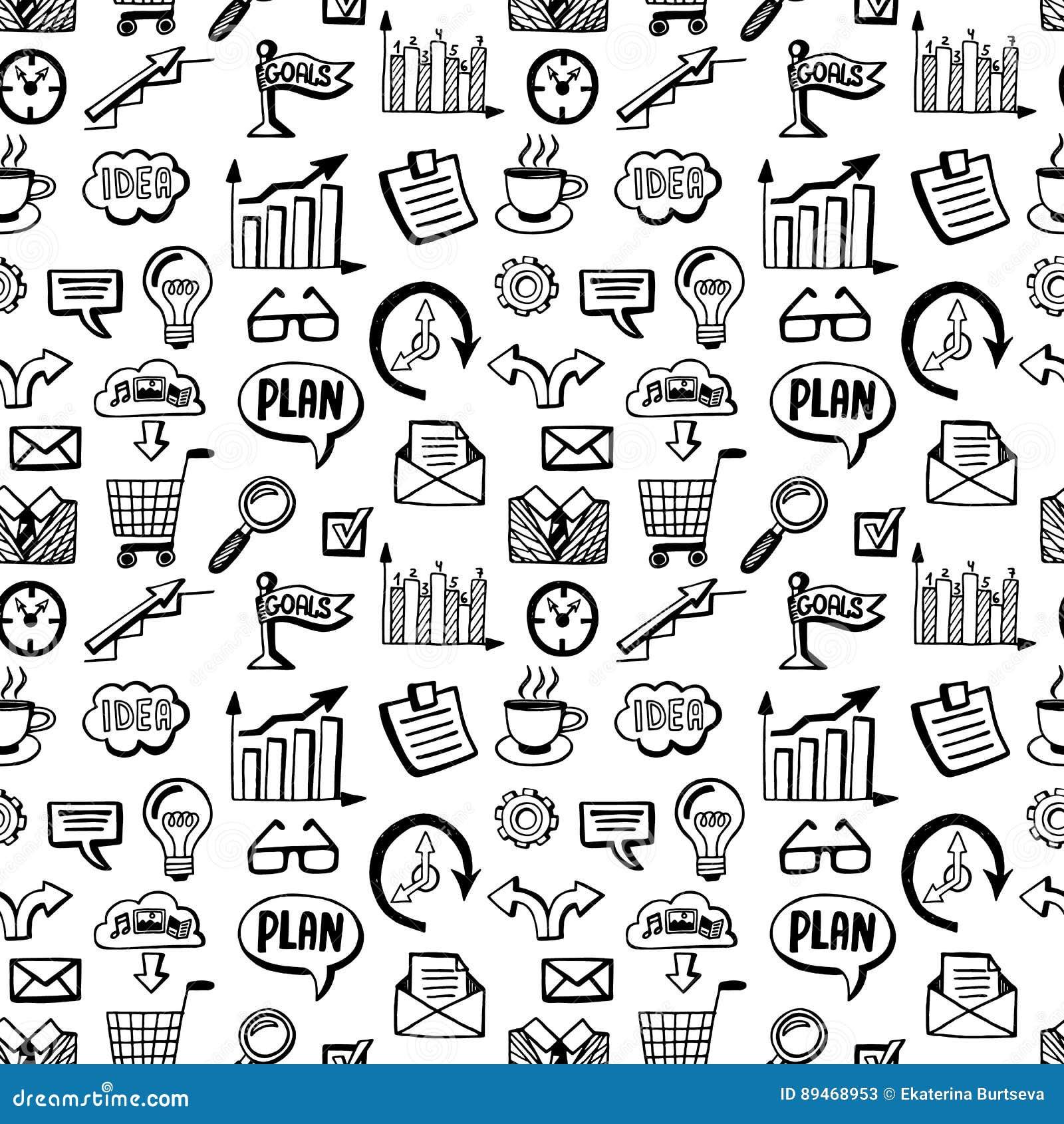 Nahtloses Muster mit Geschäft kritzelt die eingestellten Ikonen