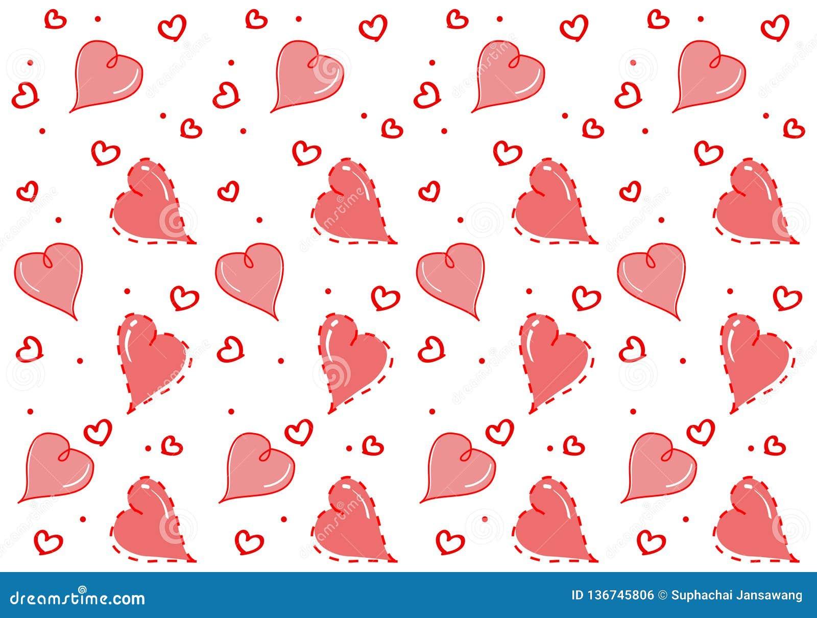 Nahtloses Muster mit Herzliebhaber Isolat auf weißem Hintergrund