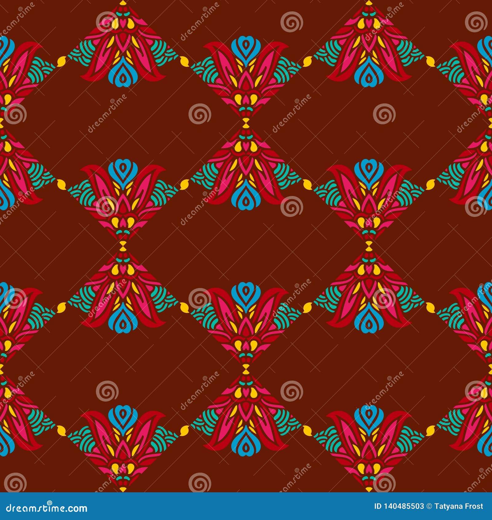Nahtloses Muster mit indischen ethnischen Elementen