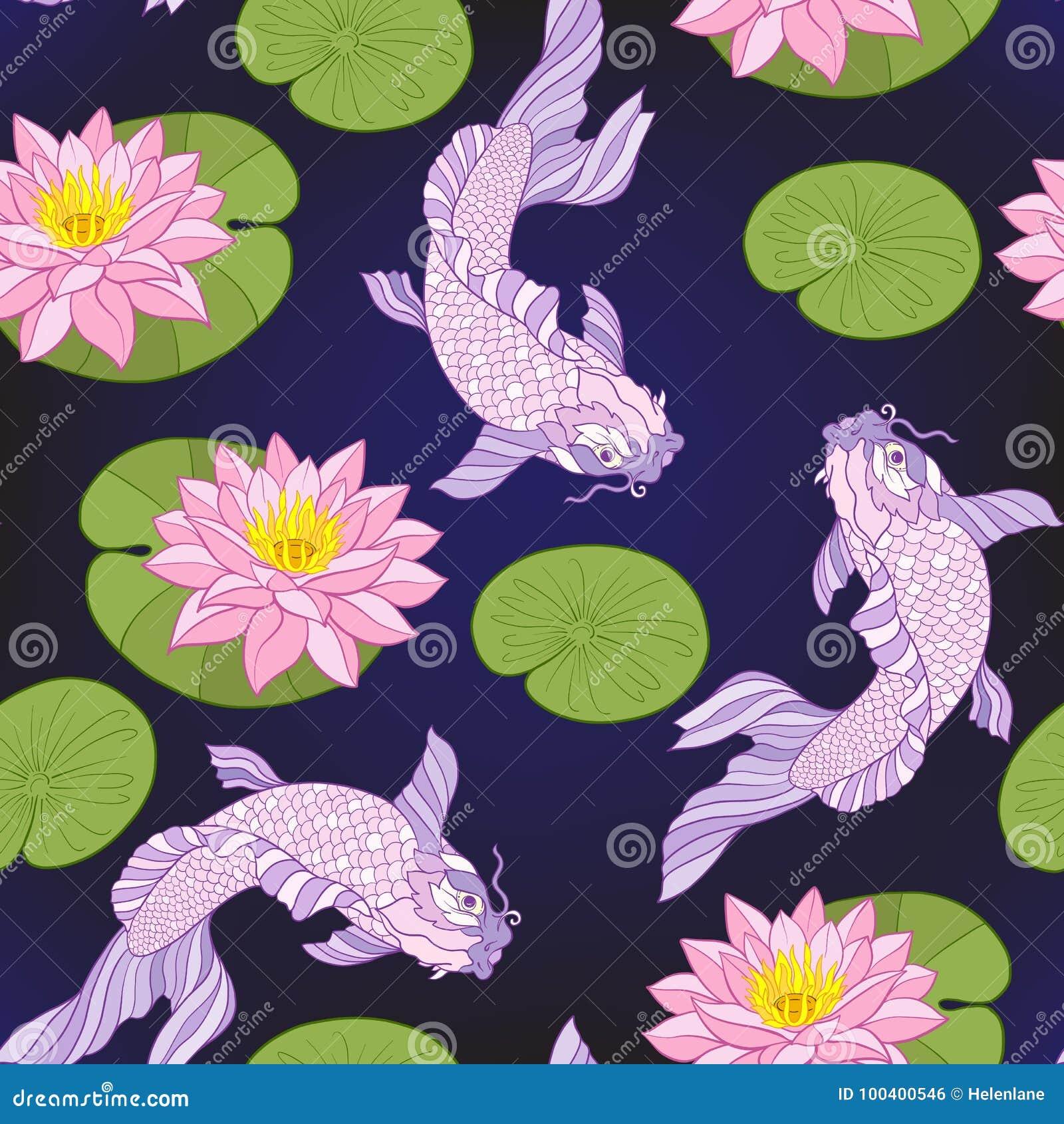 Nahtloses Muster mit japanischen Karpfen und traditionellem Japanerst.