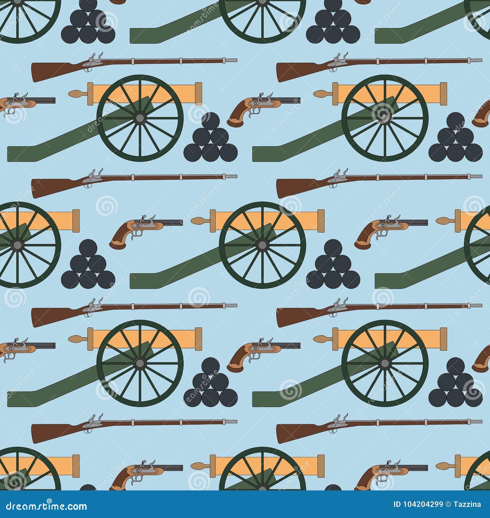 Nahtloses Muster mit Kanonen, smoothbore Gewehren und Pistolen