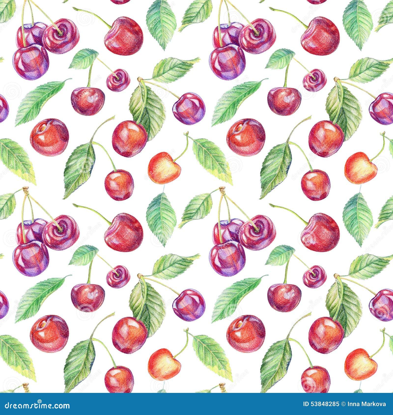 Nahtloses Muster Mit Kirschen Zeichnen Mit Farbigen Bleistiften