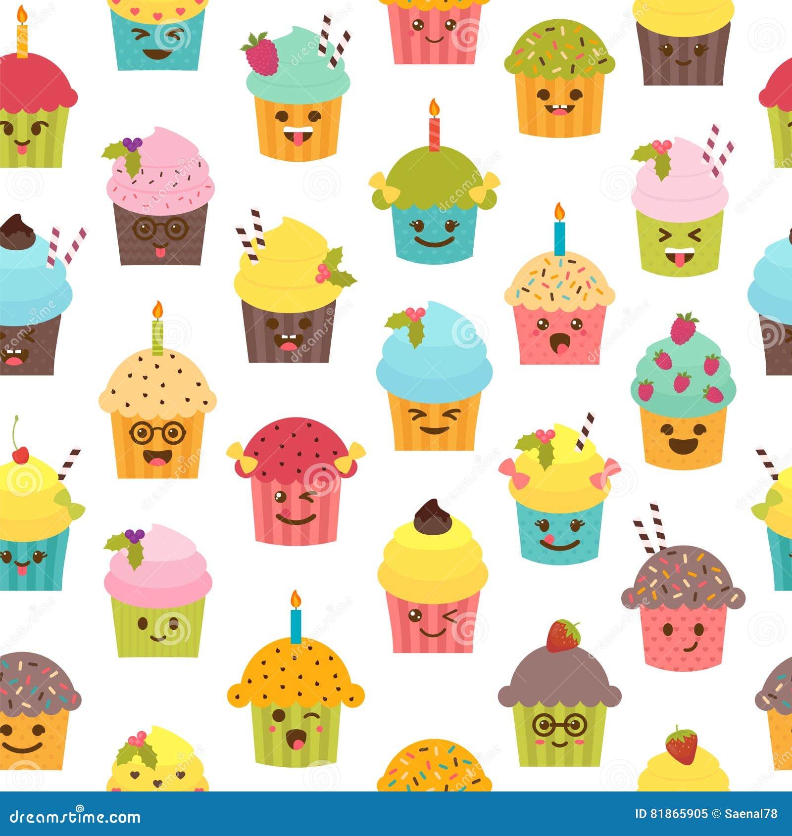 Nahtloses Muster Mit Kleinen Kuchen Und Muffins Enthält Transparente