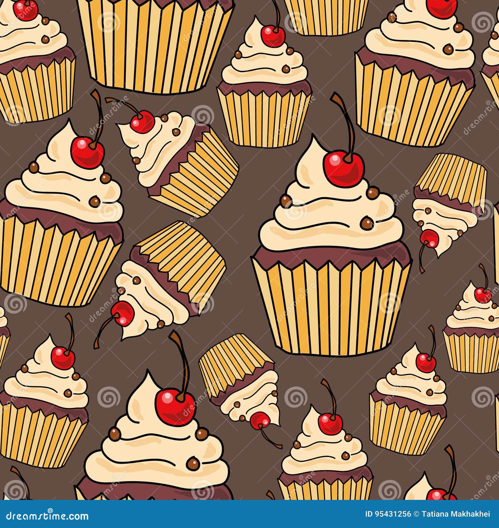 download nahtloses muster mit kuchen vektor abbildung illustration von sigkeit frucht 95431256 - Kuchen Muster