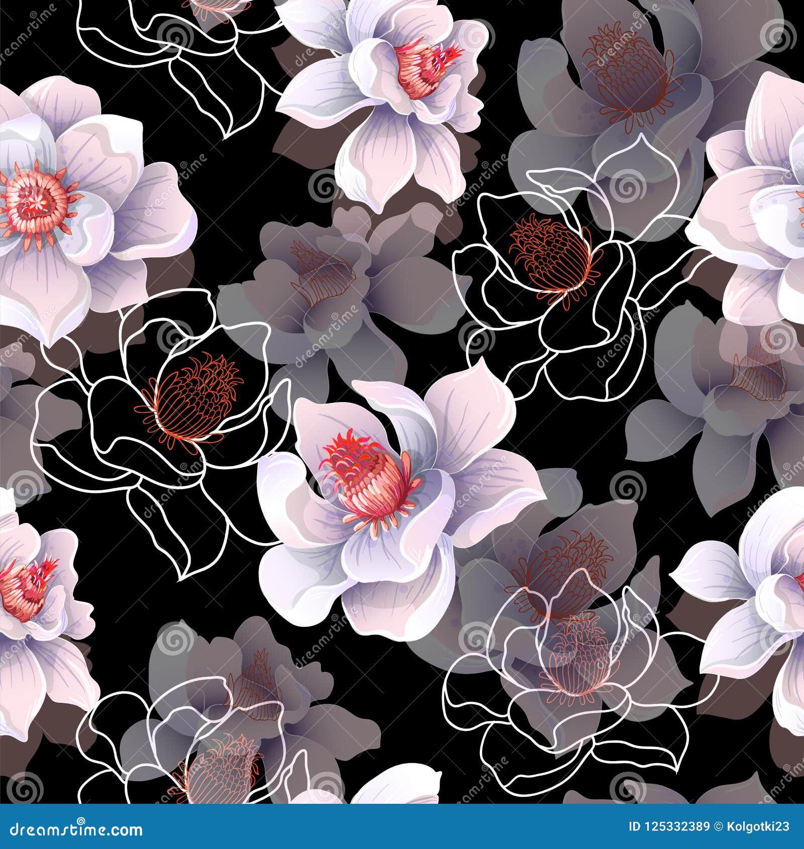 Nahtloses Muster mit Magnolie blüht auf einem schwarzen Hintergrund Auch im corel abgehobenen Betrag