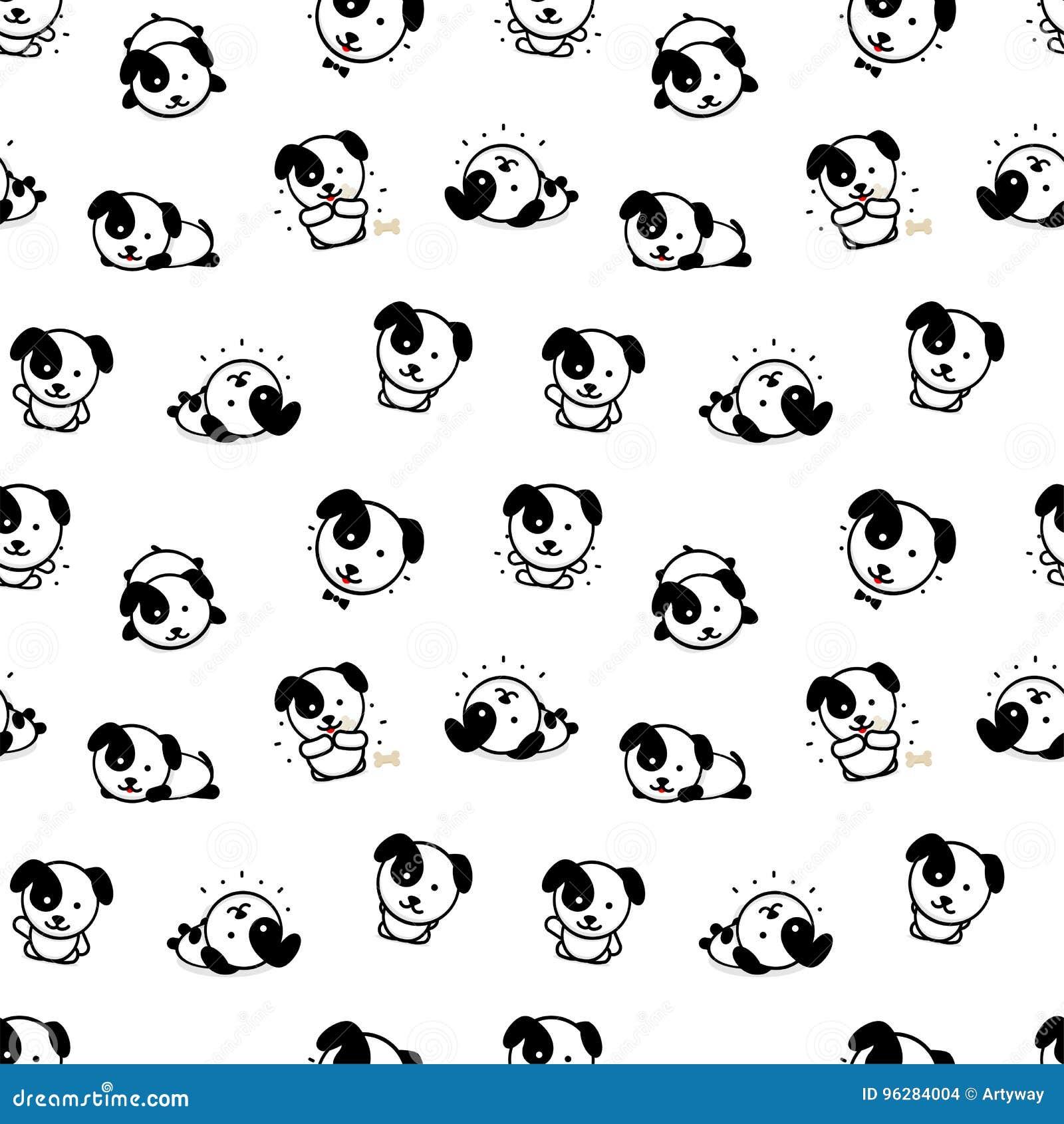 Nahtloses Muster mit netten Hündchen-Vektor-Illustrationen, Sammlung Haupttier-einfache Beschaffenheits-Elemente, Schwarzes und