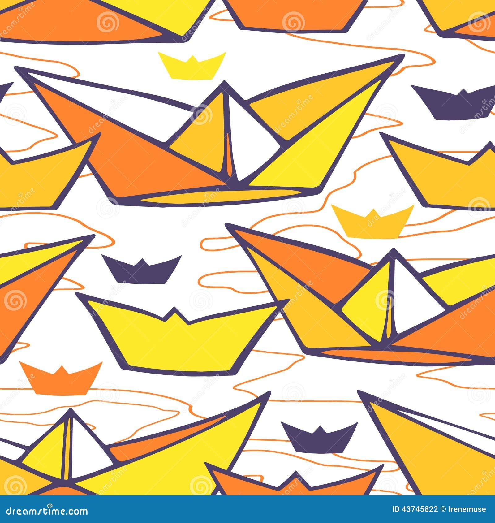 Nahtloses Muster mit Papierschiffen