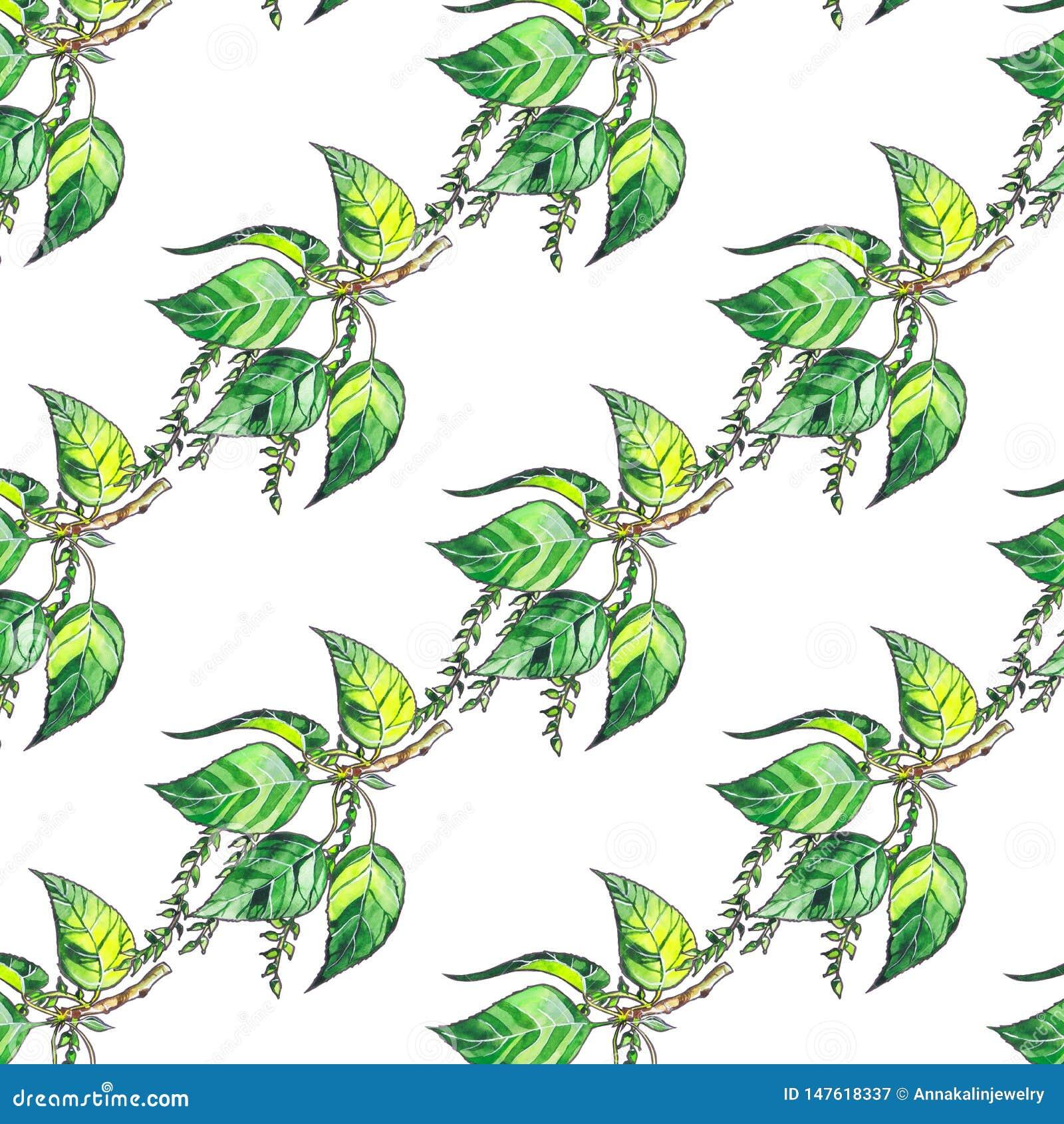 Nahtloses Muster mit Pappelgrünblättern auf weißem Hintergrund