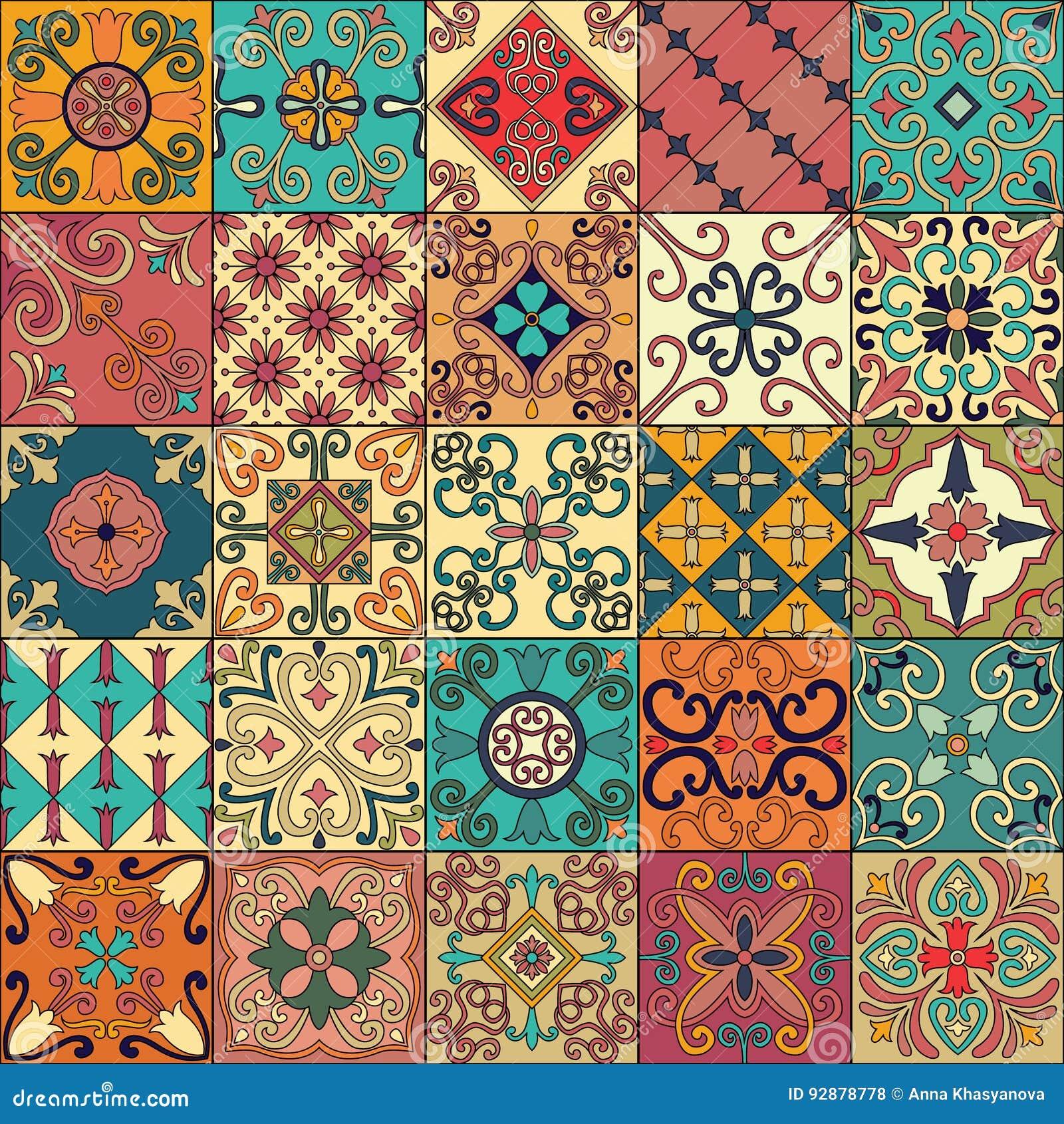 Nahtloses Muster mit portugiesischen Fliesen in Talavera-Art Azulejo, Marokkaner, mexikanische Verzierungen
