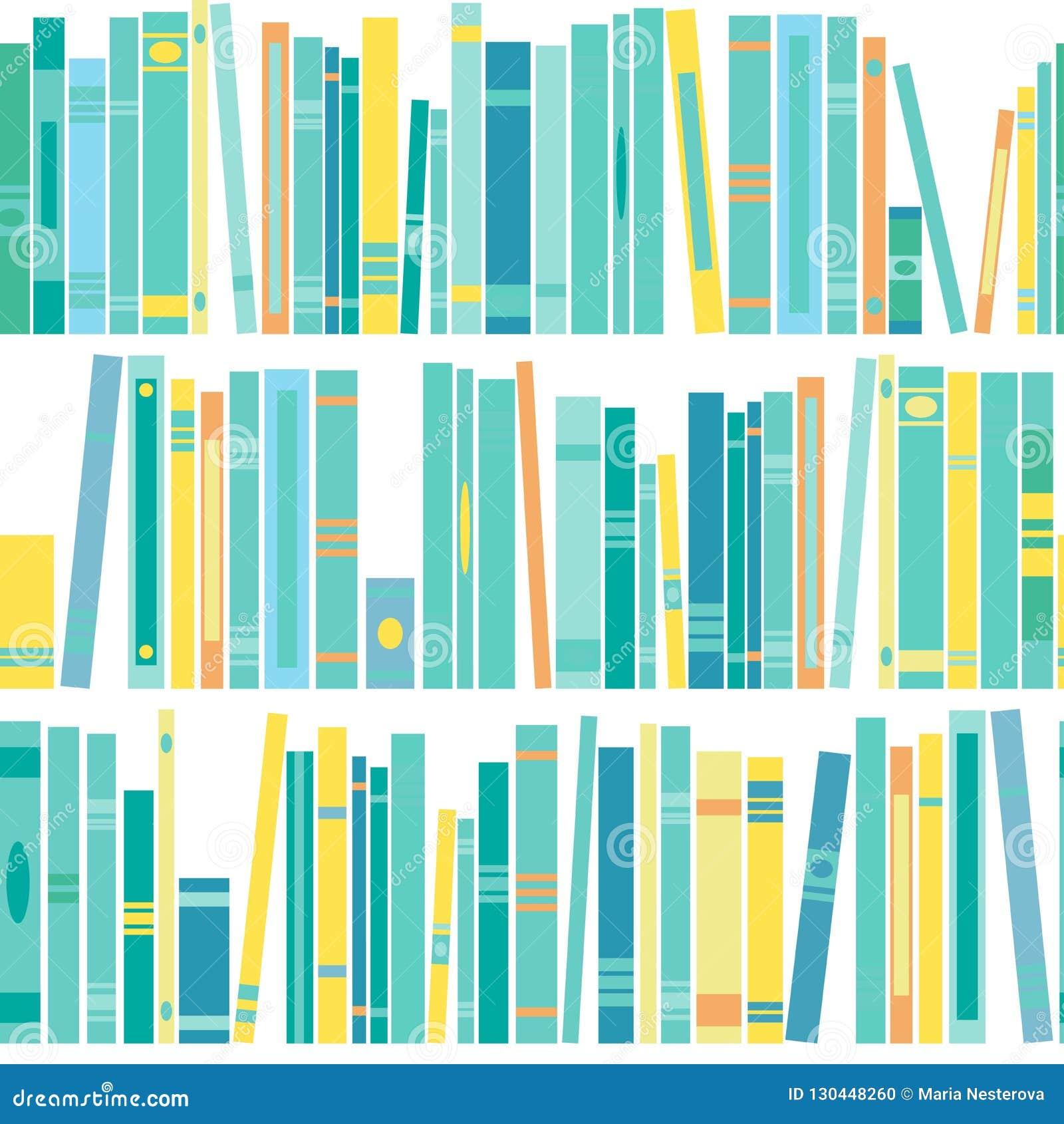 Nahtloses Muster mit Regal von Büchern auf weißem Hintergrund Flache Ablesentapete