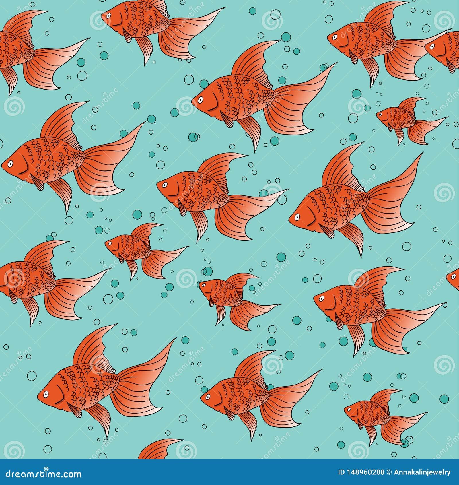 Nahtloses Muster mit rotem Goldfisch auf blauem Hintergrund mit Blasen