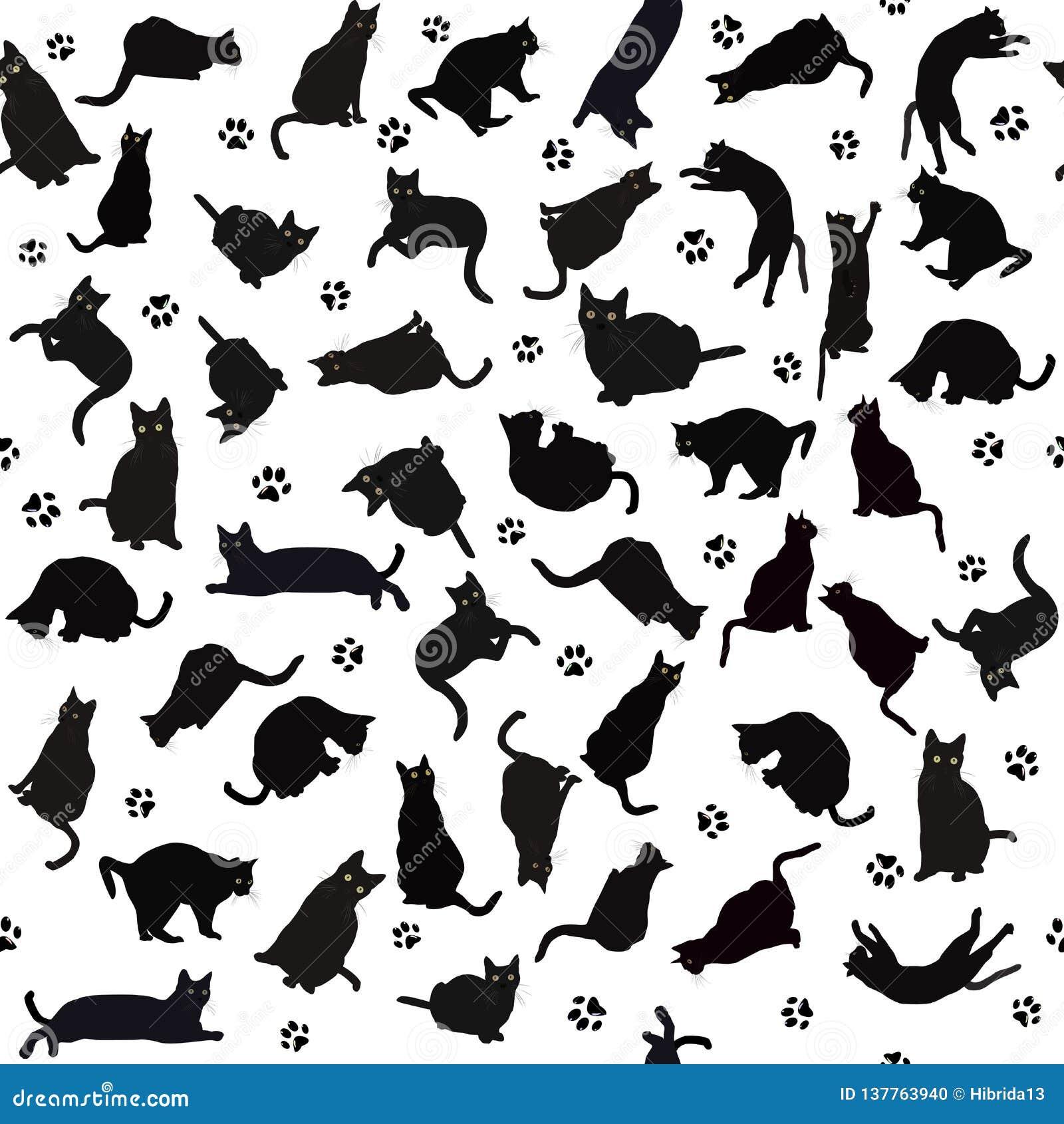 nahtloses muster mit schattenbildern der schwarzen katzen