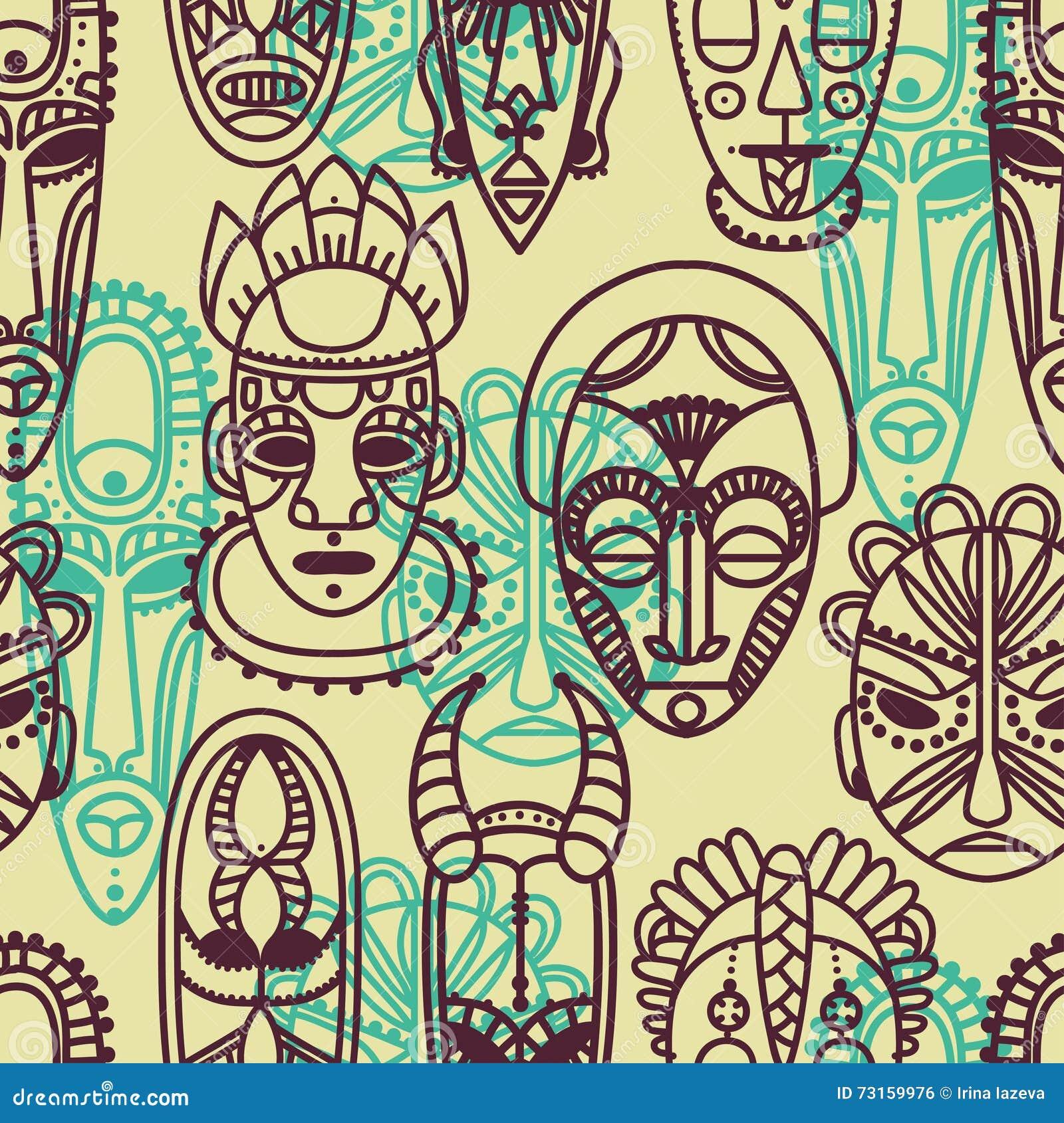 rorschach maske. nahtloses muster mit stammes afrikanischen masken ...