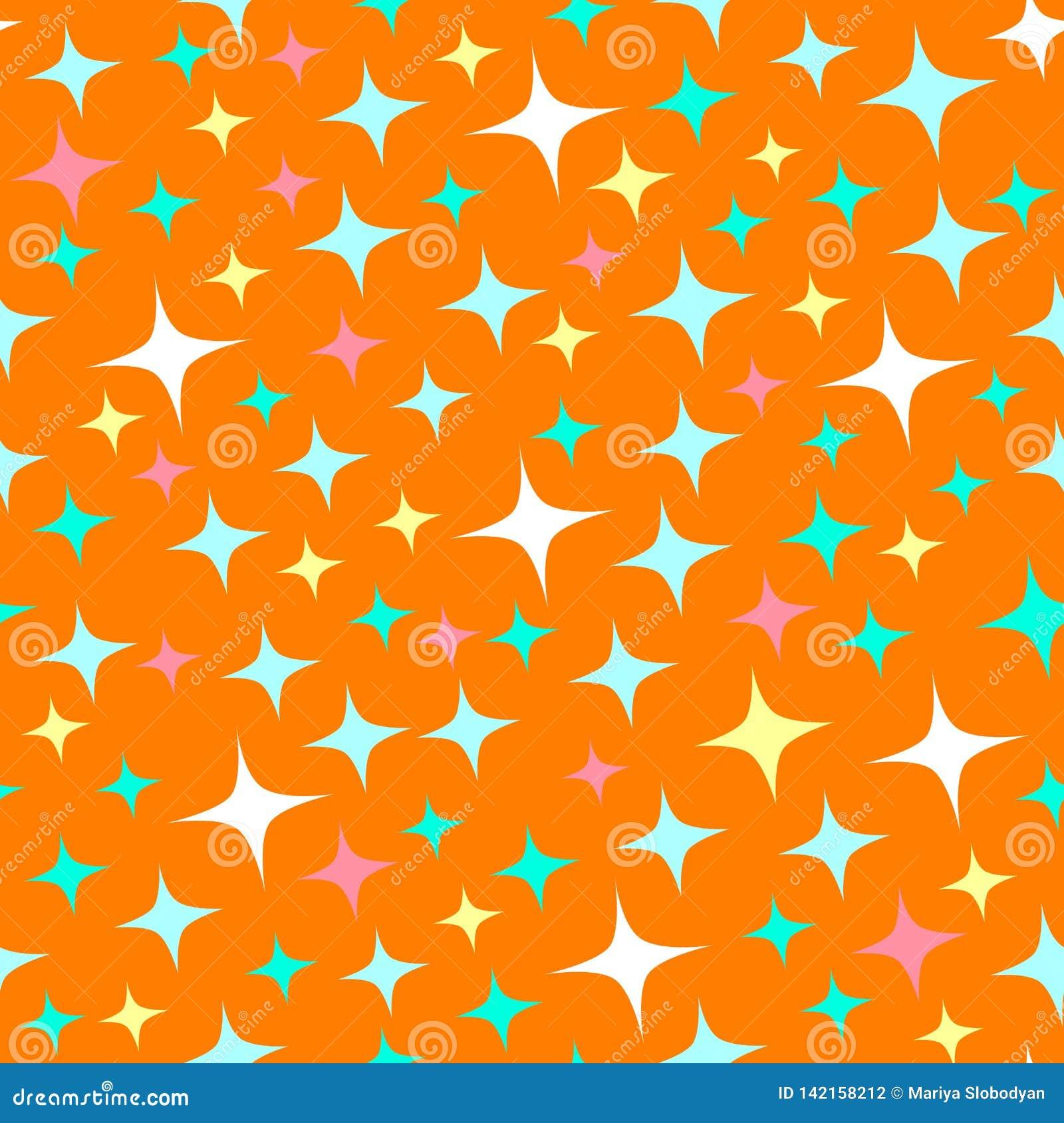 Nahtloses Muster mit Sternenlichtscheinen, funkelnde Sterne Gl?nzender orange Hintergrund Abstrakter Glanz, schicker Hintergrund