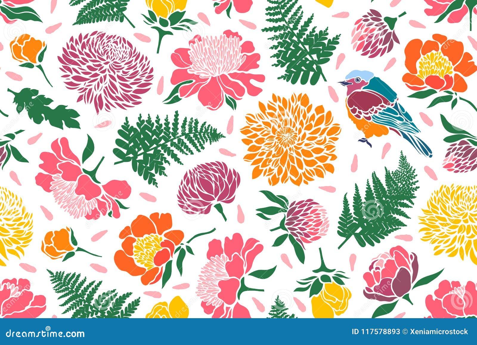 Nahtloses Muster mit Vögeln und Blumen Pfingstrose, Chrysantheme, Klee, Tulpe, Farn