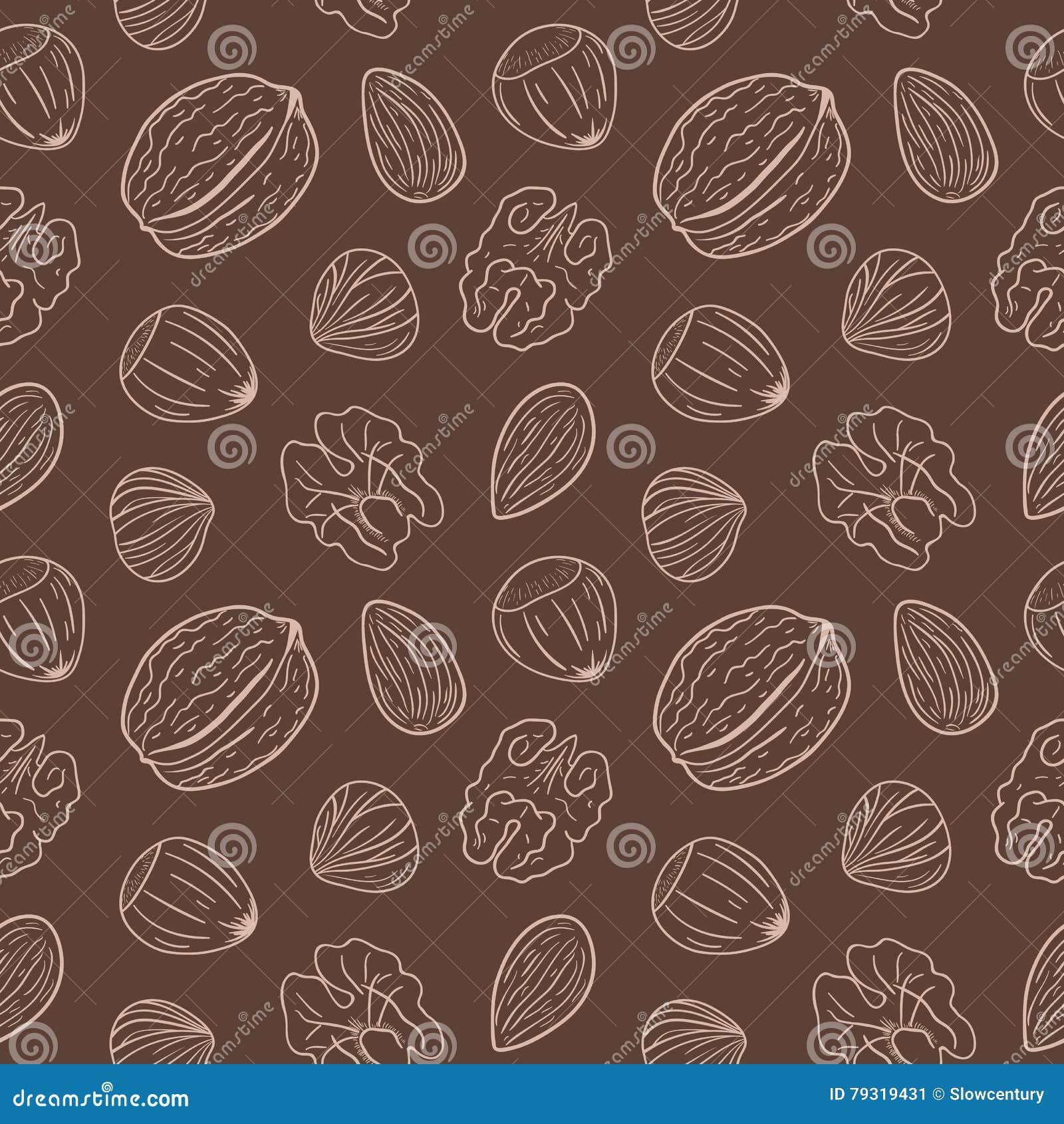 Nahtloses Muster mit verschiedenen Nüssen, ganz und geschält Walnüsse, Mandeln, Haselnüsse Mischung von Nüssen