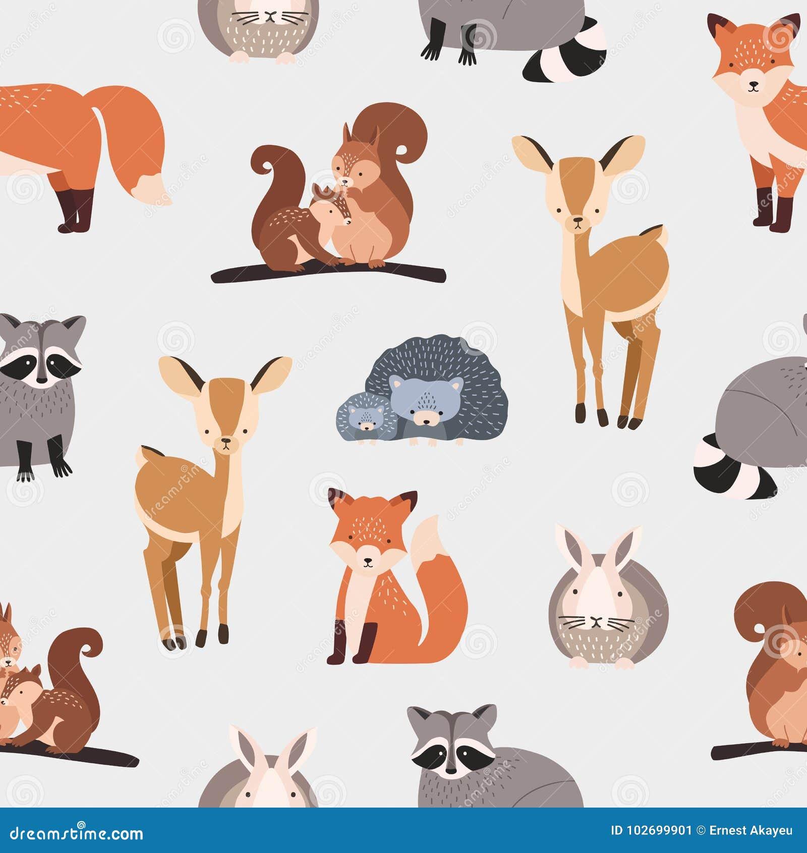1ff4a23312538b Nahtloses Muster mit verschiedenen netten Karikaturwaldtieren auf weißem  Hintergrund - Eichhörnchen