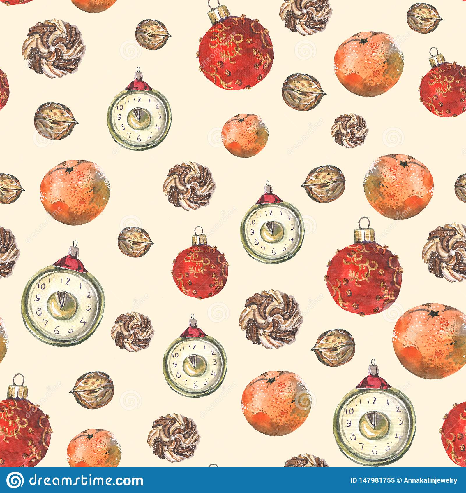 Nahtloses Muster mit Weihnachtsdekoration