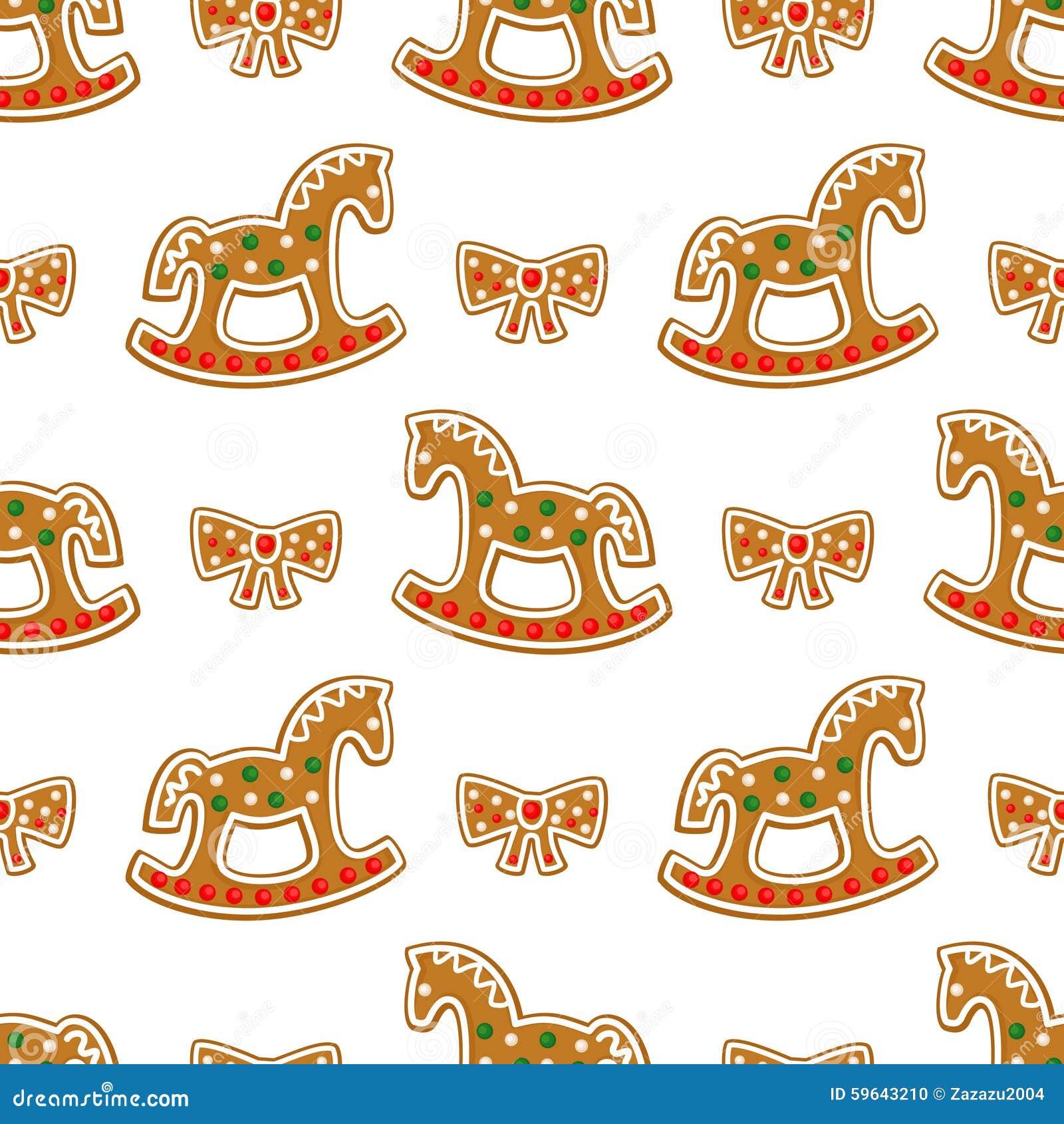 Nahtloses Muster mit Weihnachtslebkuchenplätzchen - Schaukelpferd und Bogen