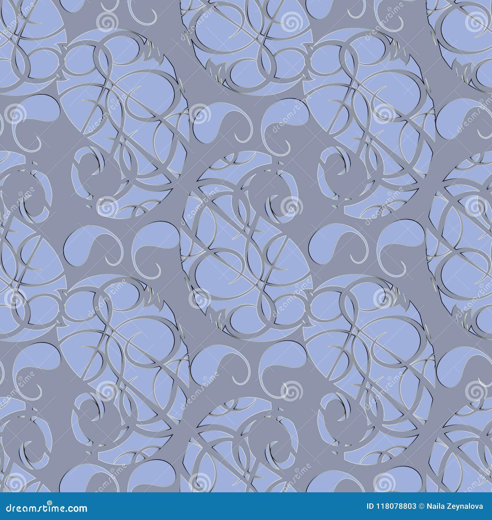 Nahtloses Muster Paisleys Abstraktes graues Blumenhintergrund wallp